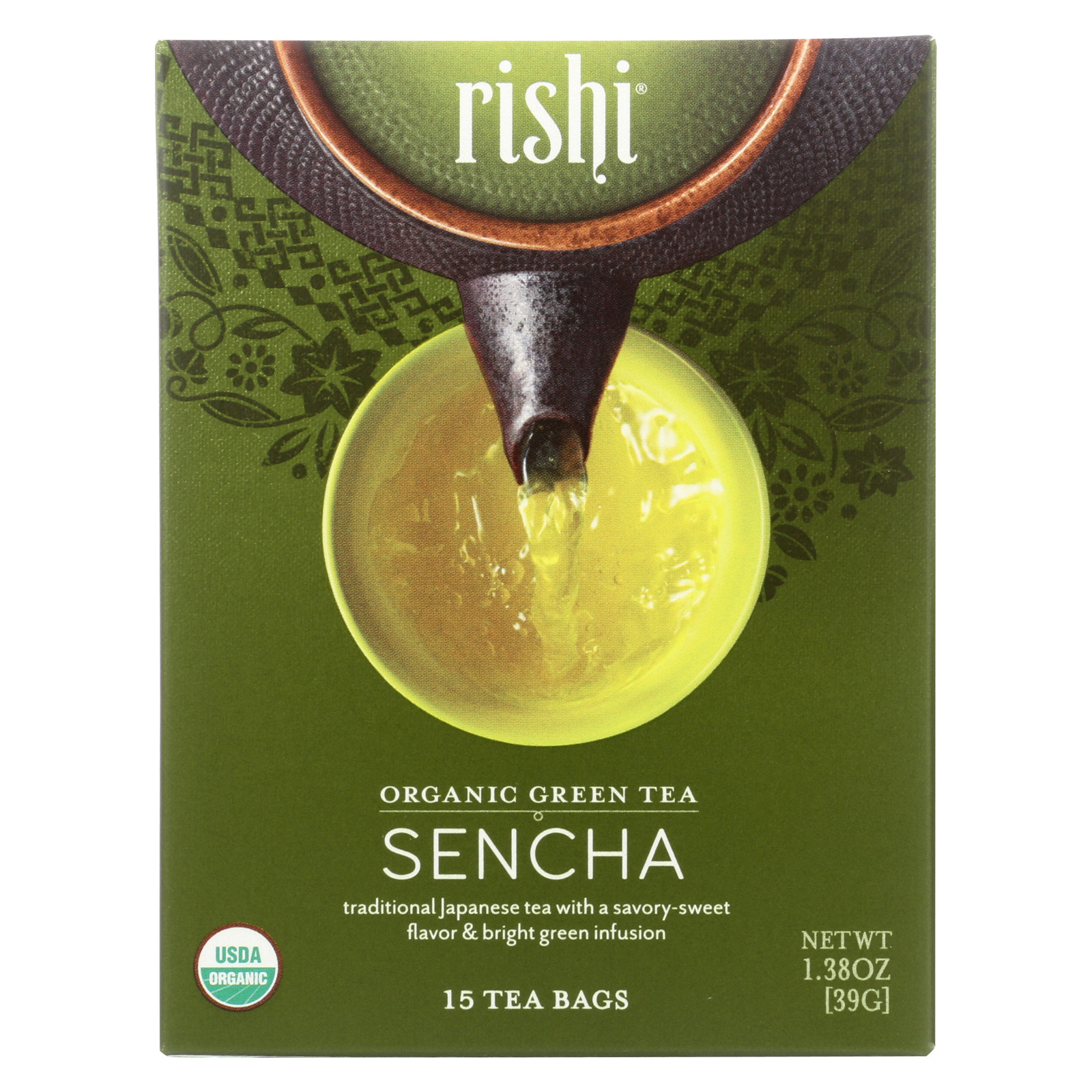 Rishi Organic Green Tea - Sencha - Case of 6 - 15 Bags