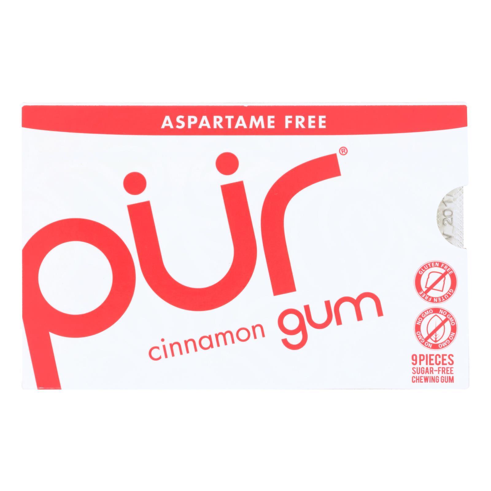 Pur Gum - Cinnamon - Aspartame Free - 9 Pieces - 12.6 g - Case of 12