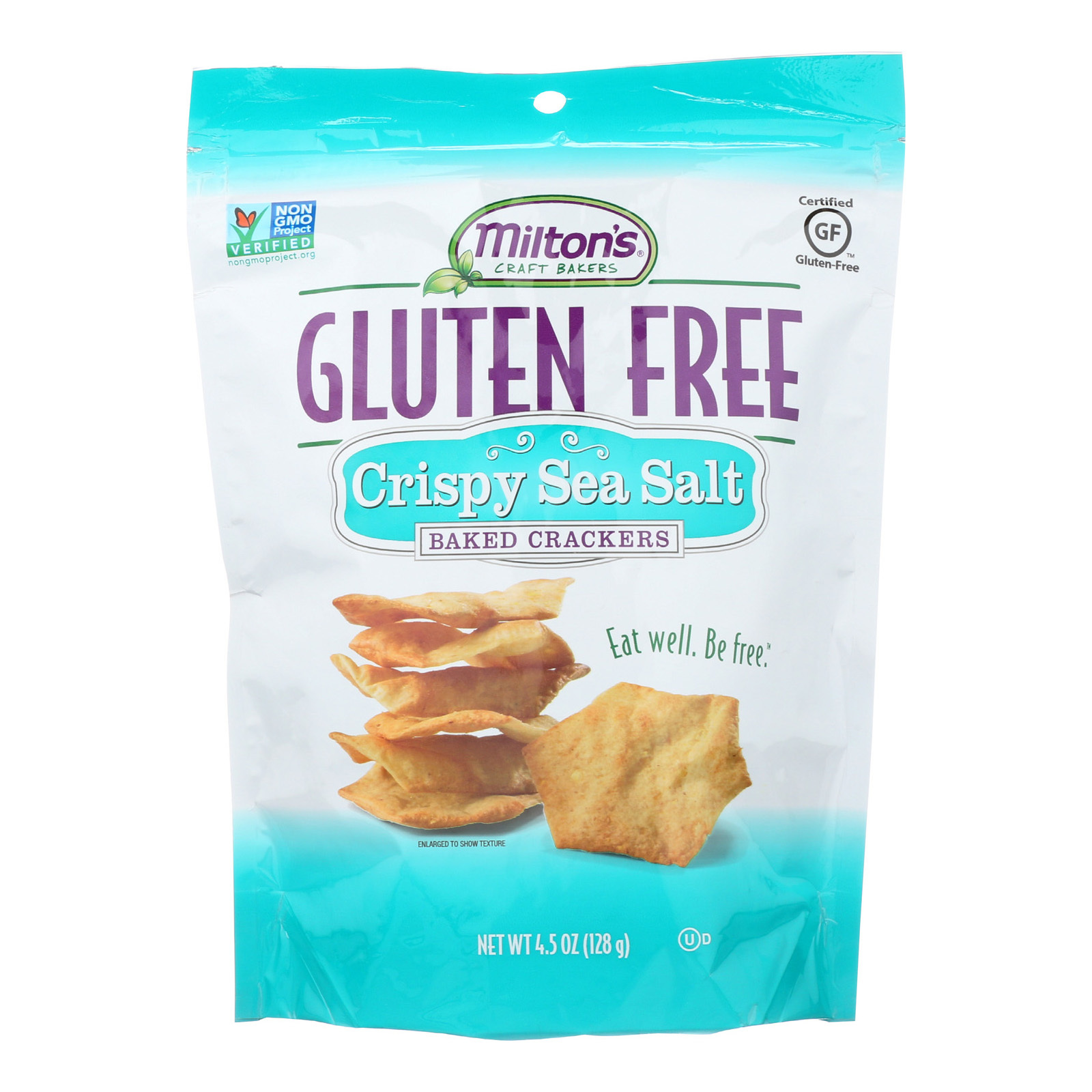 Miltons Gluten Free Baked Crackers - Crispy Sea Salt - Case of 12 - 4.5 oz.