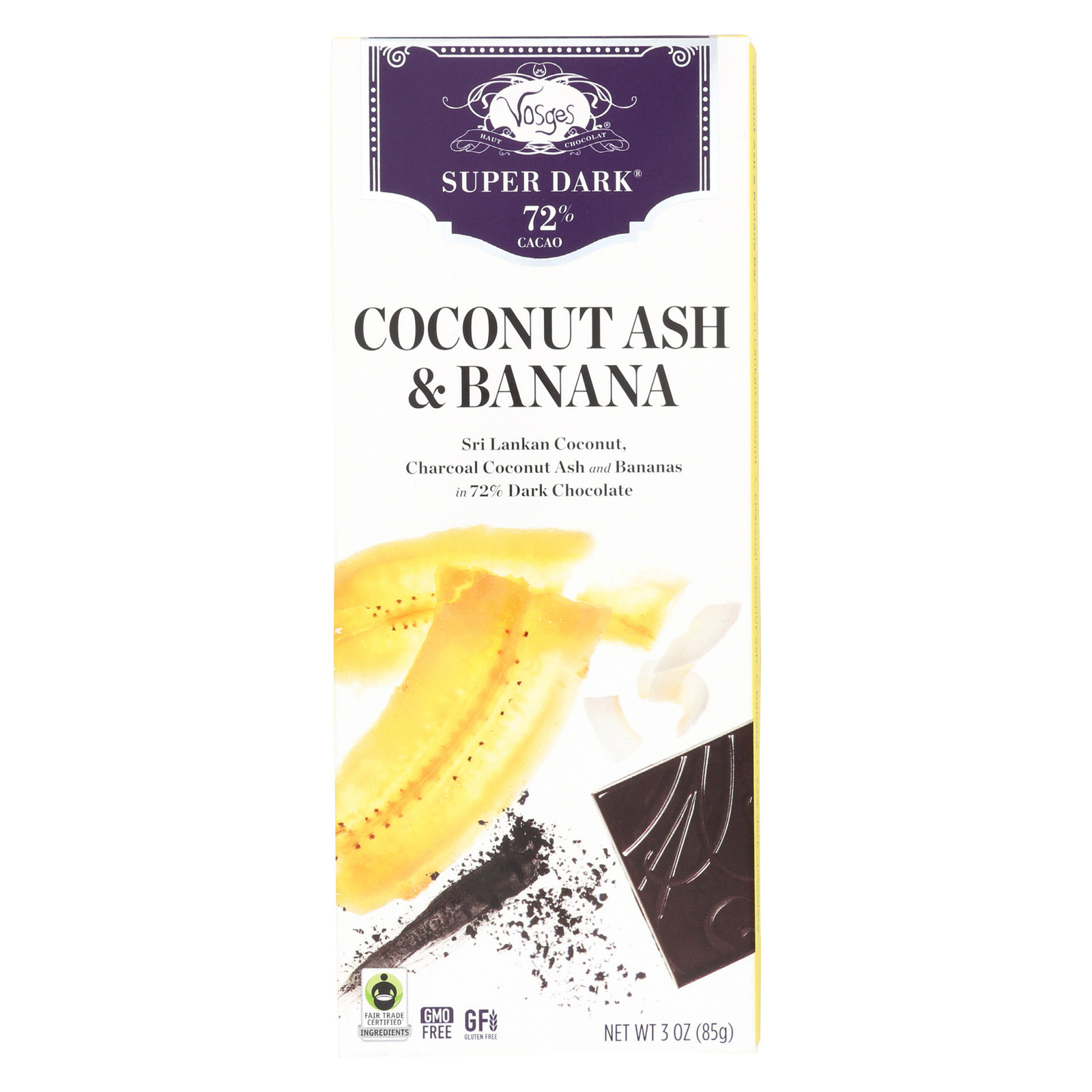 Vosges Haut-Chocolat 72% Cacao Super Dark Chocolate Bar - Coconut Ash & Banana - Case of 12 - 3 oz
