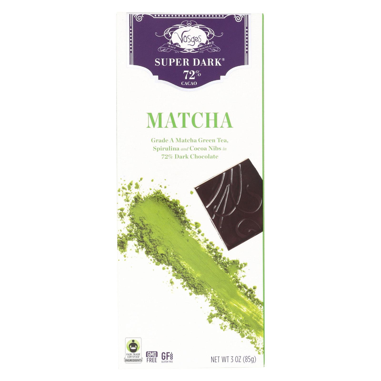 Vosges Haut-Chocolat Dark Chocolate Bar - with Spirulina and Matcha Green Tea - Case of 12 - 3 oz
