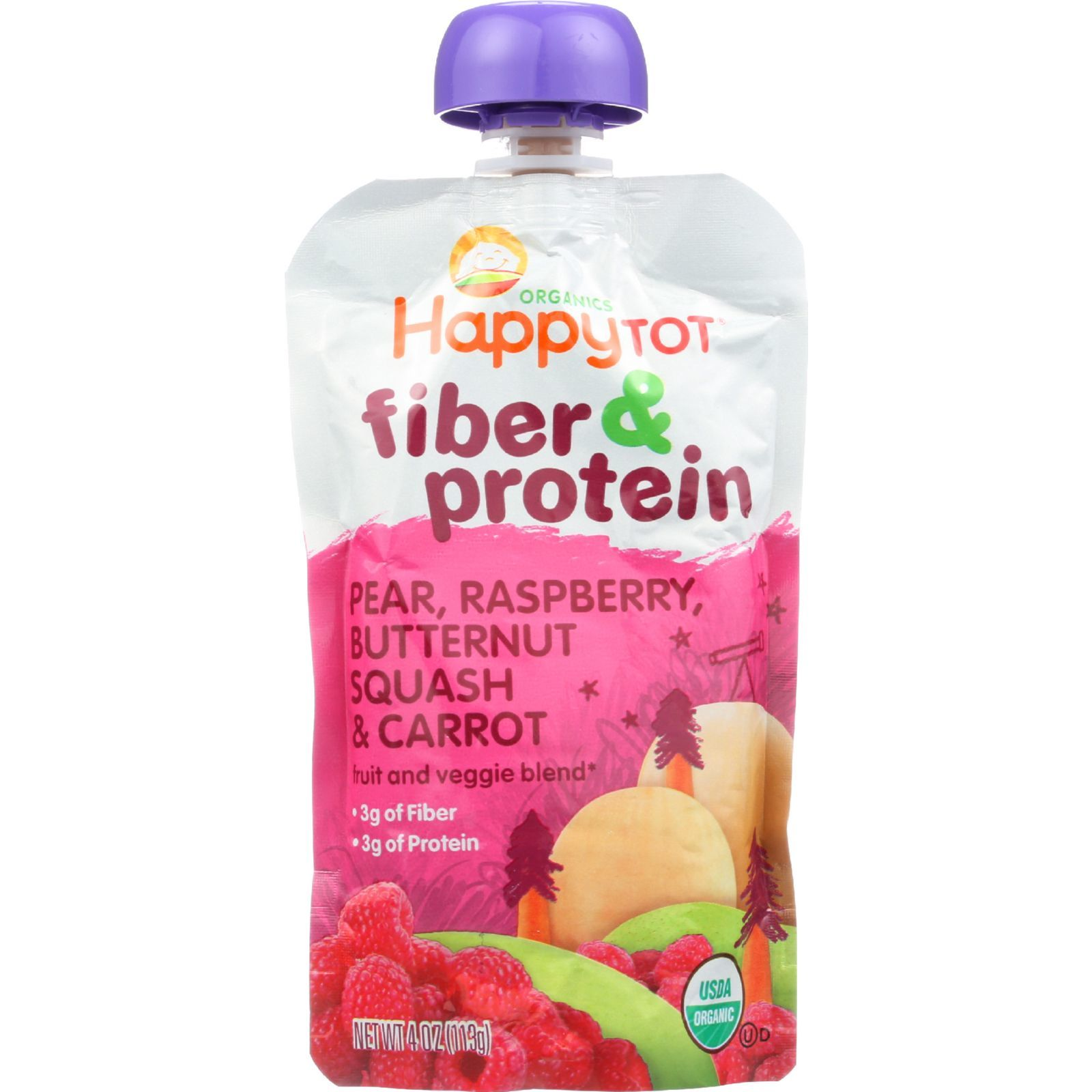Happy Tot Toddler Food - Organic - Fiber and Protein - Stage 4 - Pear Raspberry Butternut Squash and Carrot - 4 oz - case of 16