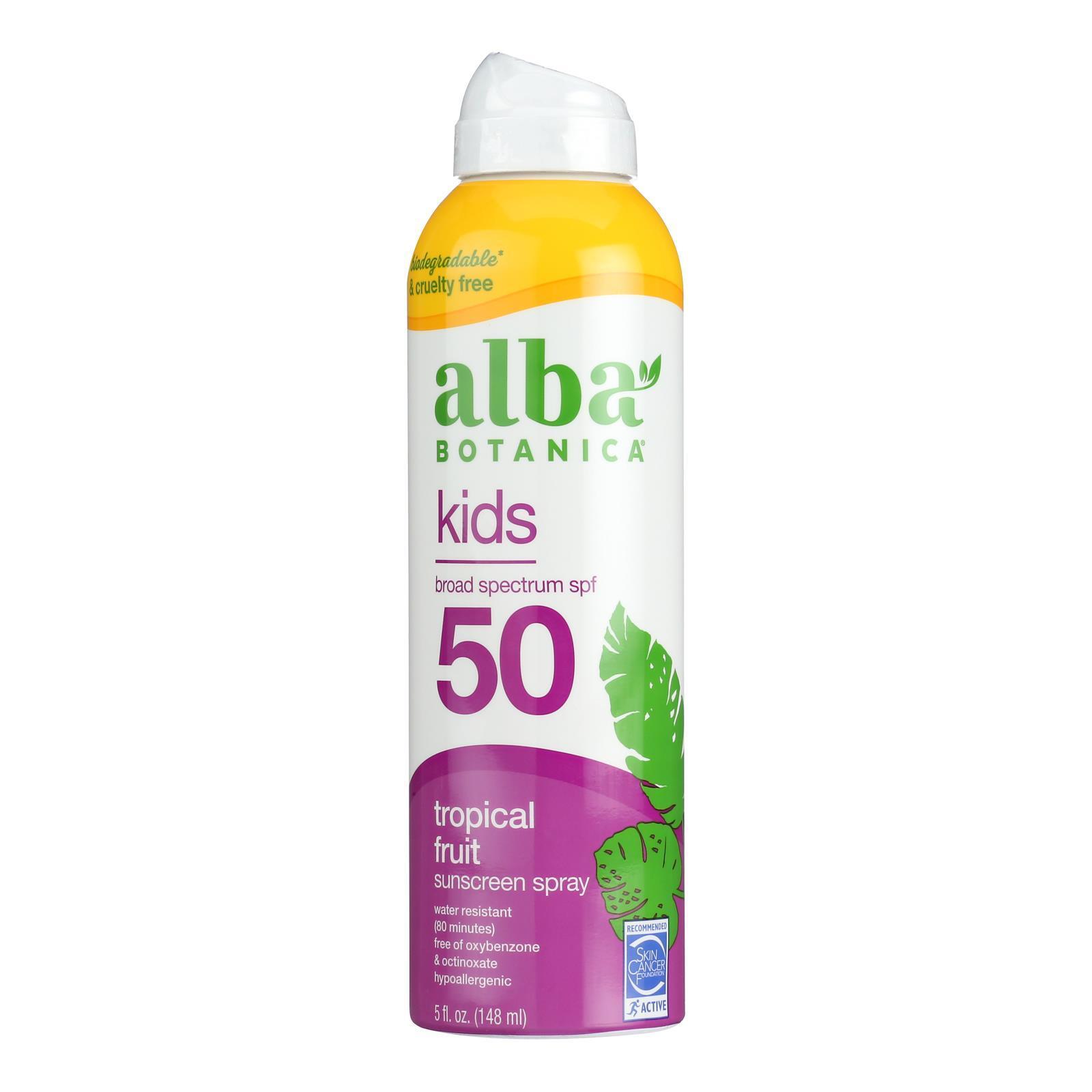 Alba Botanica Sunscreen - Very Emollient - Clear Spray SPF 50 - Active Kids - 6 oz