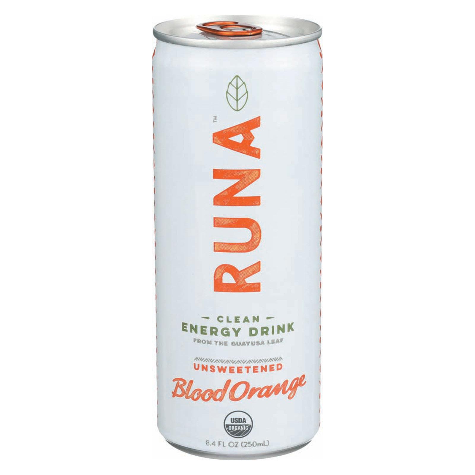 Runa Clean Energy Drink - Orange Passion - Case of 24 - 8.4 Fl oz.