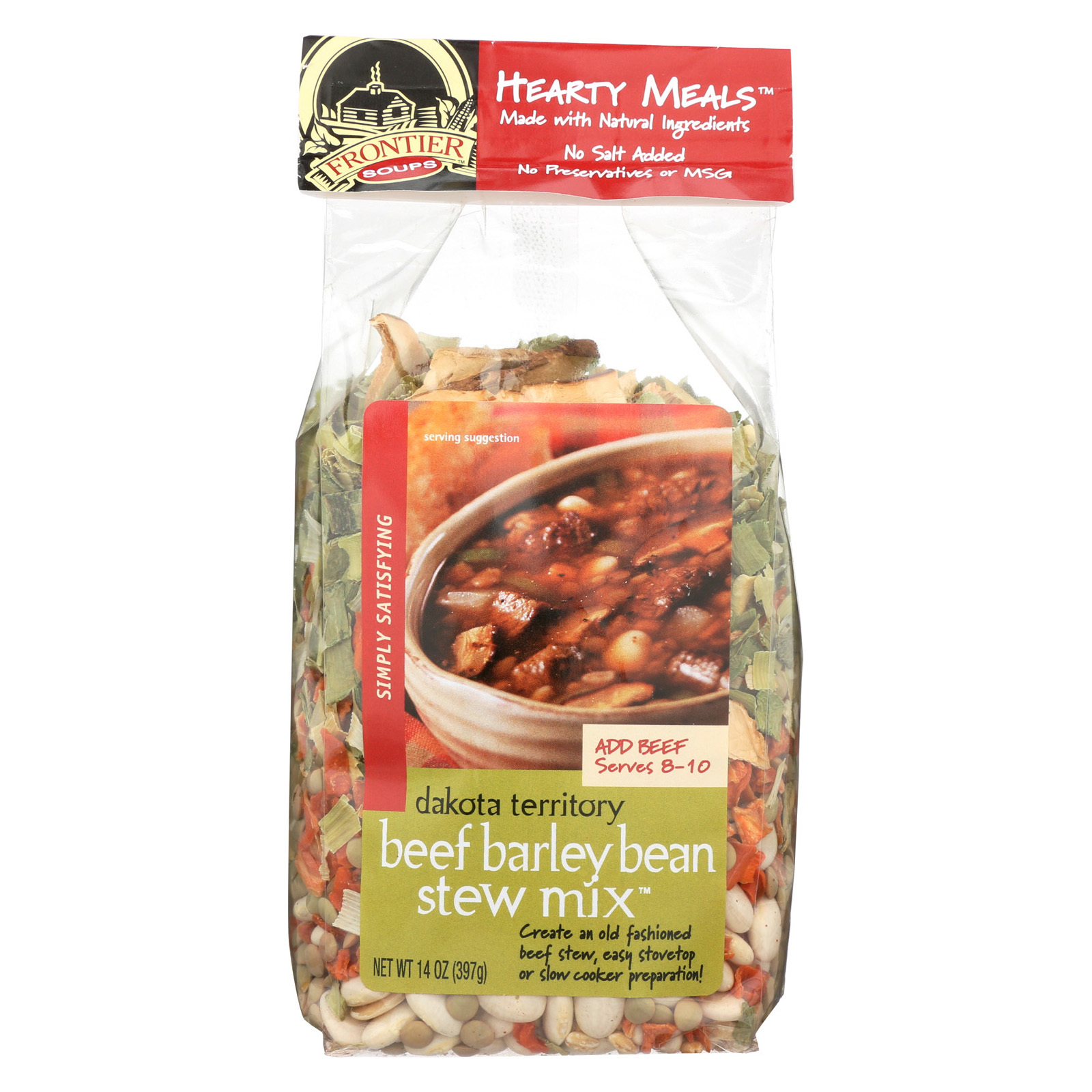 Frontier Soup Stew Mix - Beef Barley - Bean - Case of 8 - 14 oz