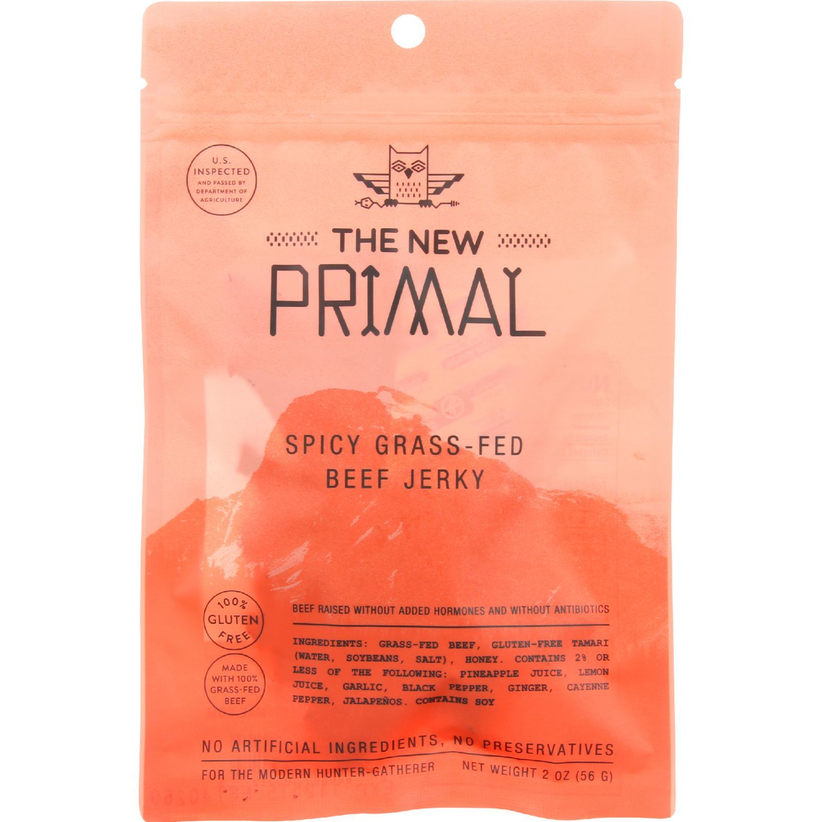 The New Primal Beef Jerky - Spicy - Gluten Free - 2 oz - case of 8