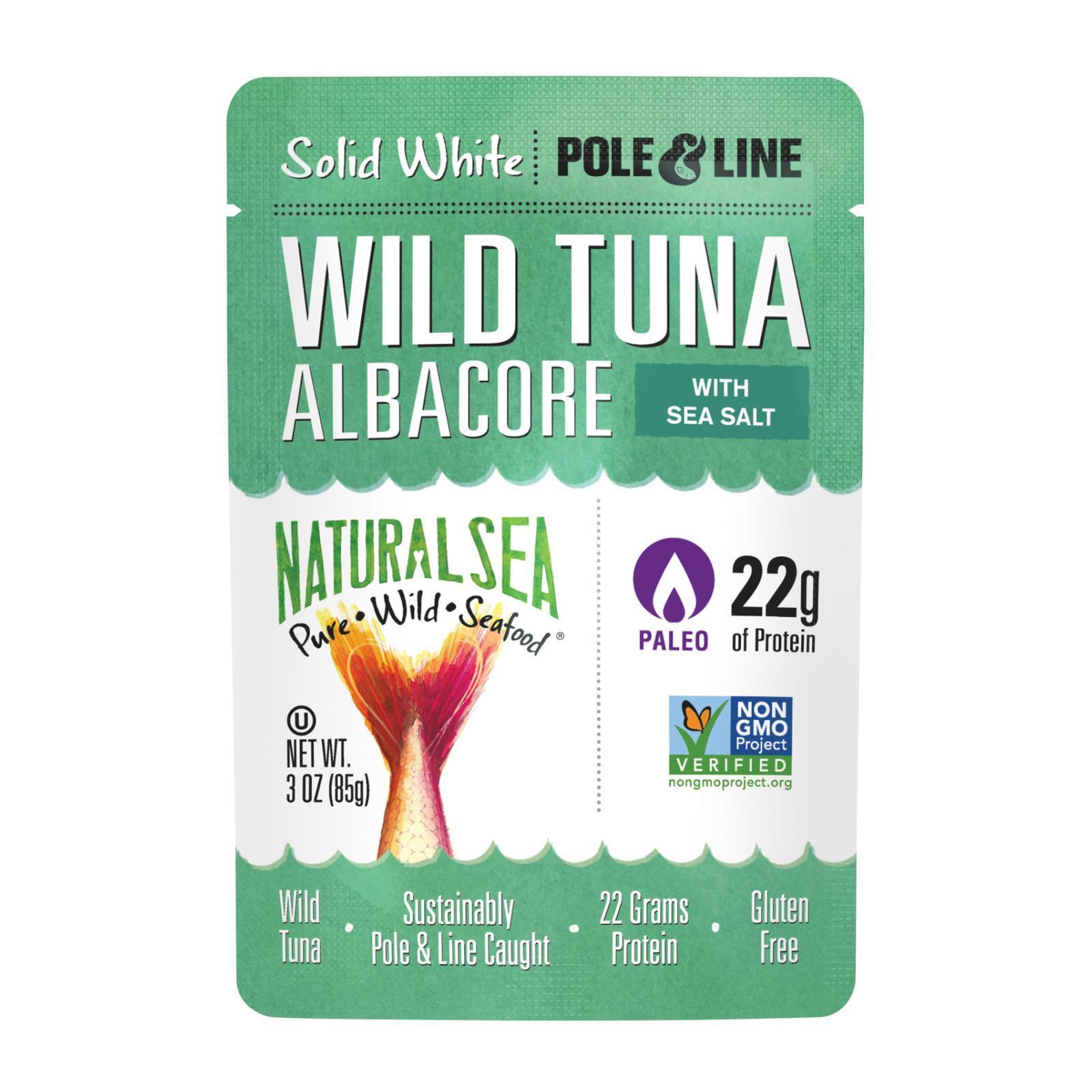 Natural Sea Wild Albacore Tuna Pouch - With Sea Salt - Case of 12 - 3 oz.