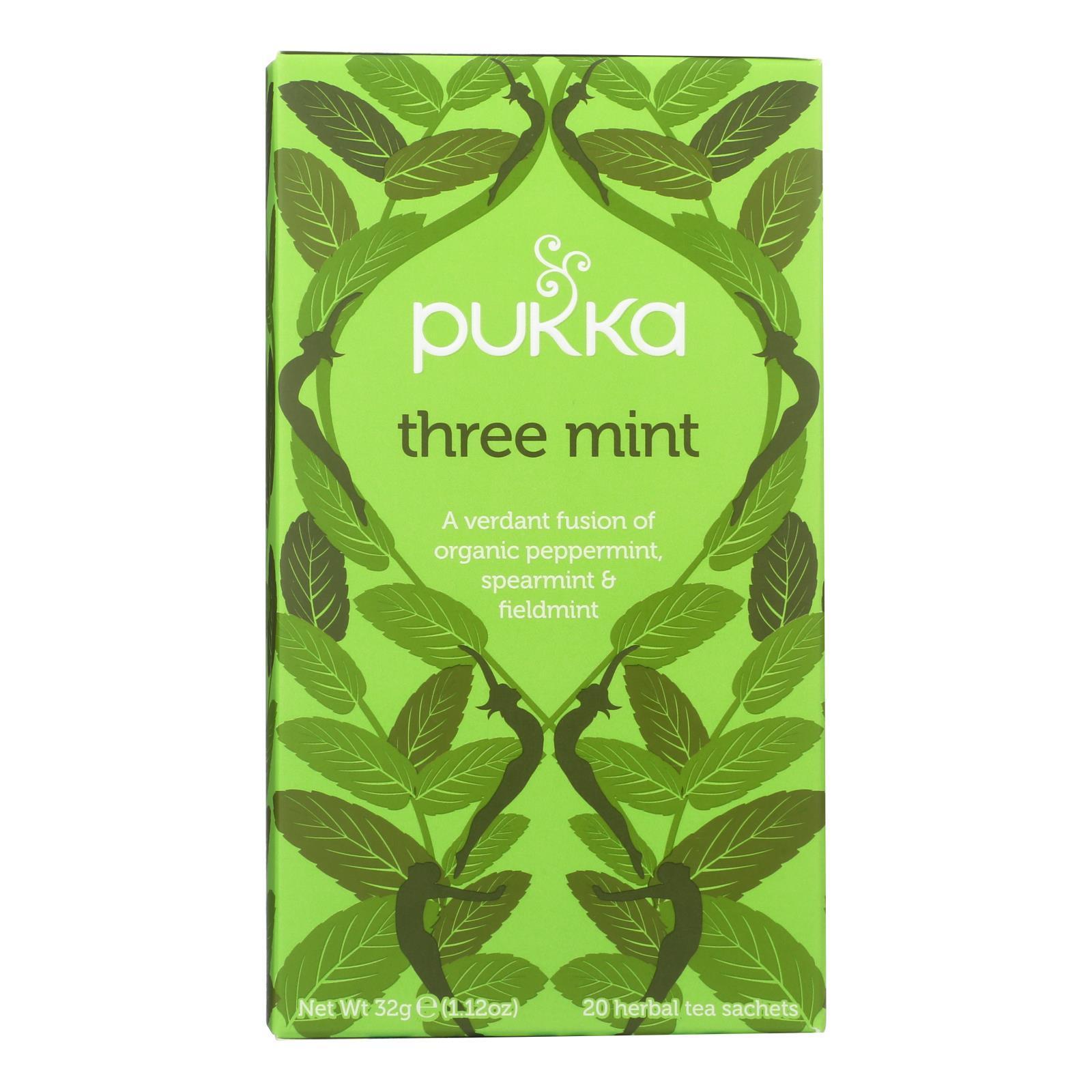 Pukka Herbal Teas Tea - Organic - Three Mint - 20 Bags - Case of 6