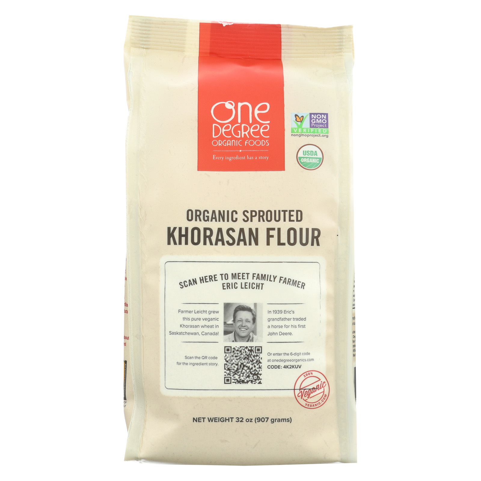 One Degree Organic Foods Sprouted Khorasan Flour - Organic - Case of 6 - 32 oz.