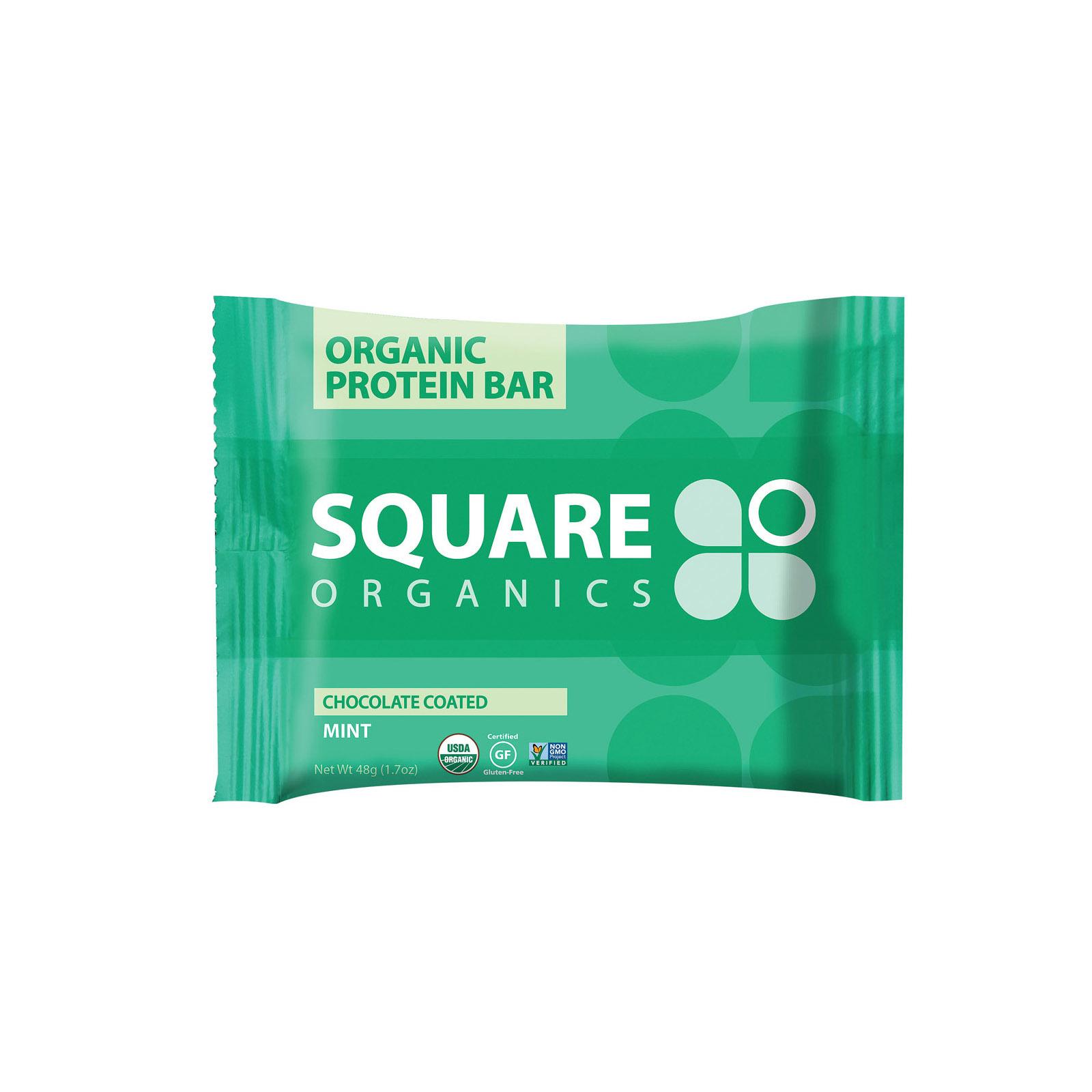 Square Organics Organic Protein Bar - Chocolate Coated Mint - Case of 12 - 1.7 oz