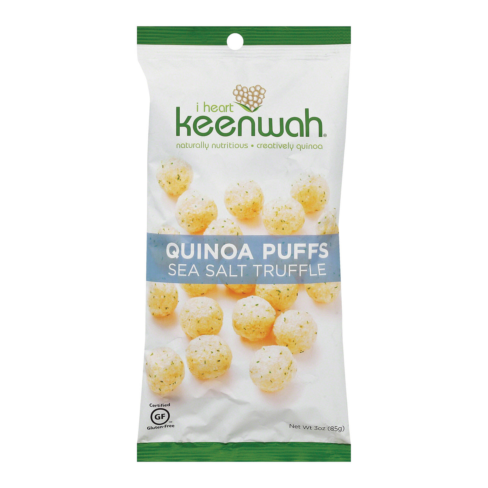 I Heart Keenwah Quinoa Puffs - Sea Salt Truffle - Case of 12 - 3 oz.