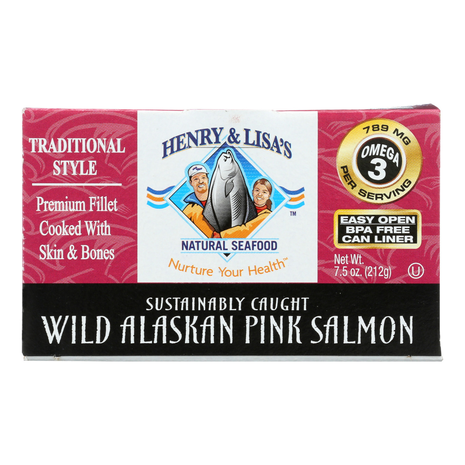 Henry and Lisa's Natural Seafood Wild Alaskan Pink Salmon - Case of 12 - 7.5 oz.