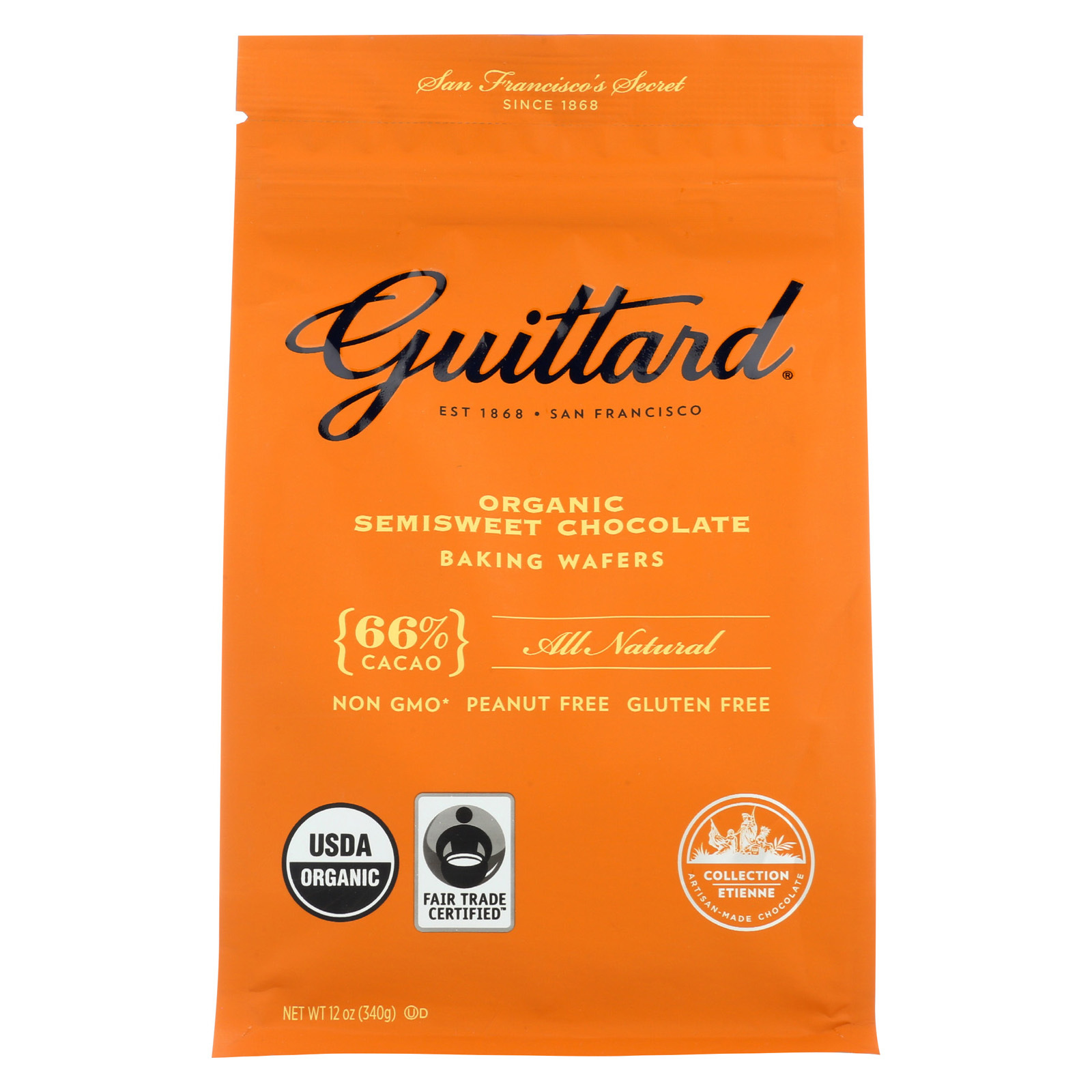 Guittard Chocolate Baking Wafers - Organic - 66% Semisweet - Case of 8 - 12 oz