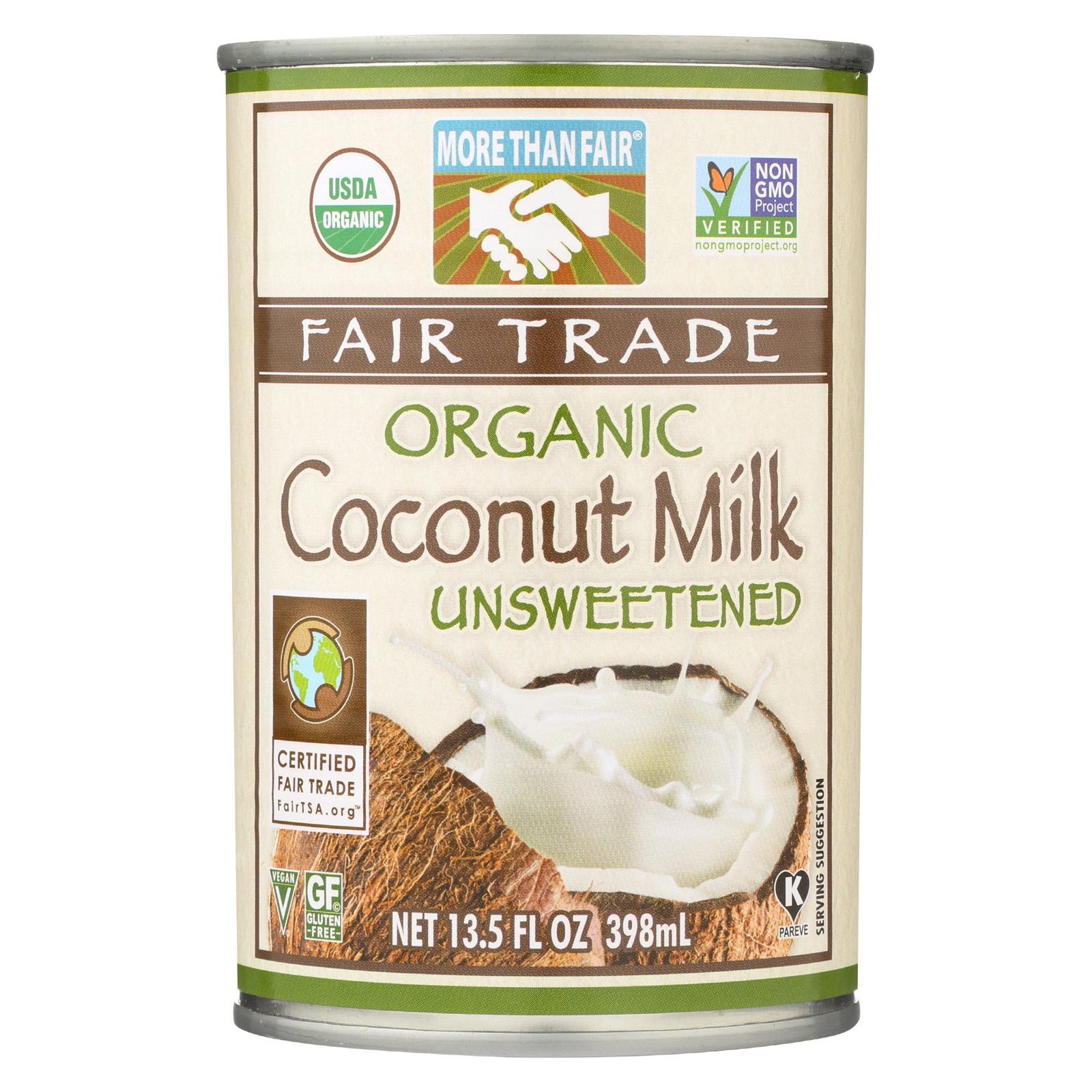 More Than Fair Organic Coconut Milk - Classic Unsweetened - Case of 12 - 13.5 Fl oz.