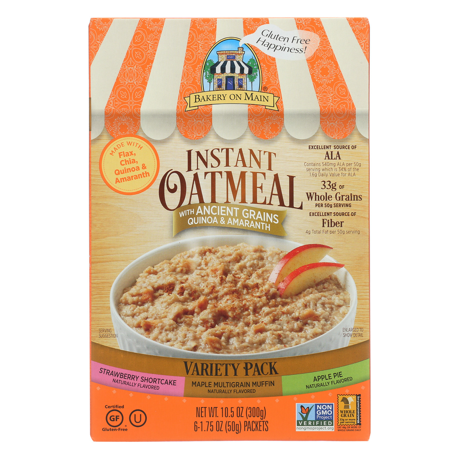 Bakery On Main Instant Oatmeal - Case of 6 - 10.5 oz.