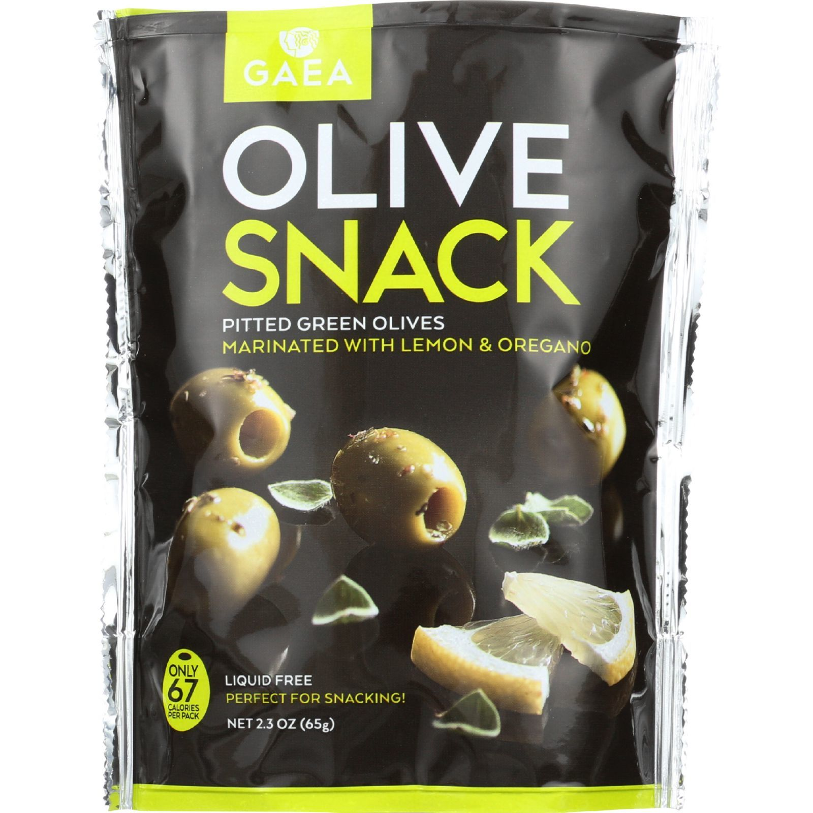 Gaea Olives - Green - Pitted - with Oregano and Lemon - Snack Pack - 2.3 oz - case of 8
