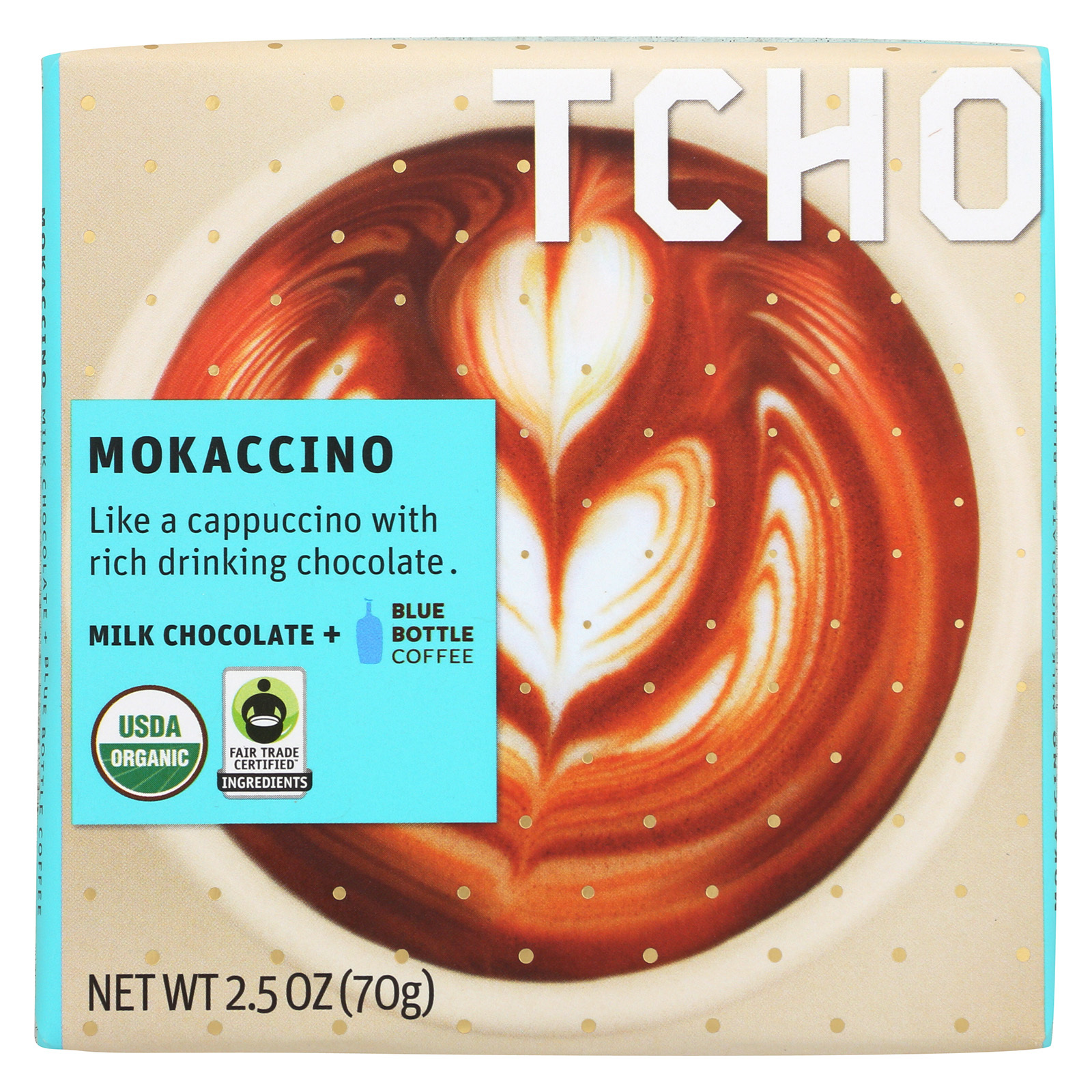 Tcho Chocolate Milk Chocolate Bar - Mokaccino - Case of 12 - 2.5 oz.