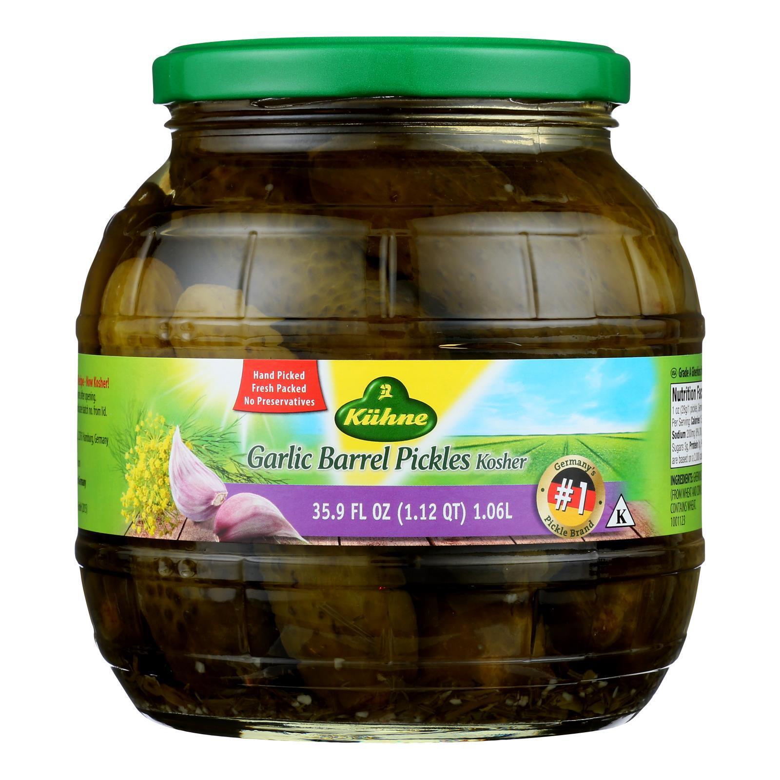 Kuhne Pickle - Barrel - Garlic - Case of 6 - 34.2 fl oz