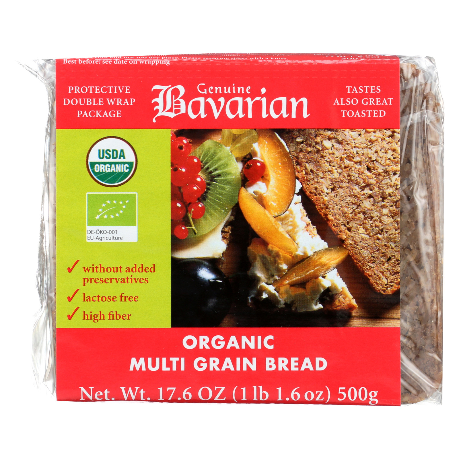 Genuine Bavarian Breads Rye - Multigrain - Case of 6 - 17.6 oz.