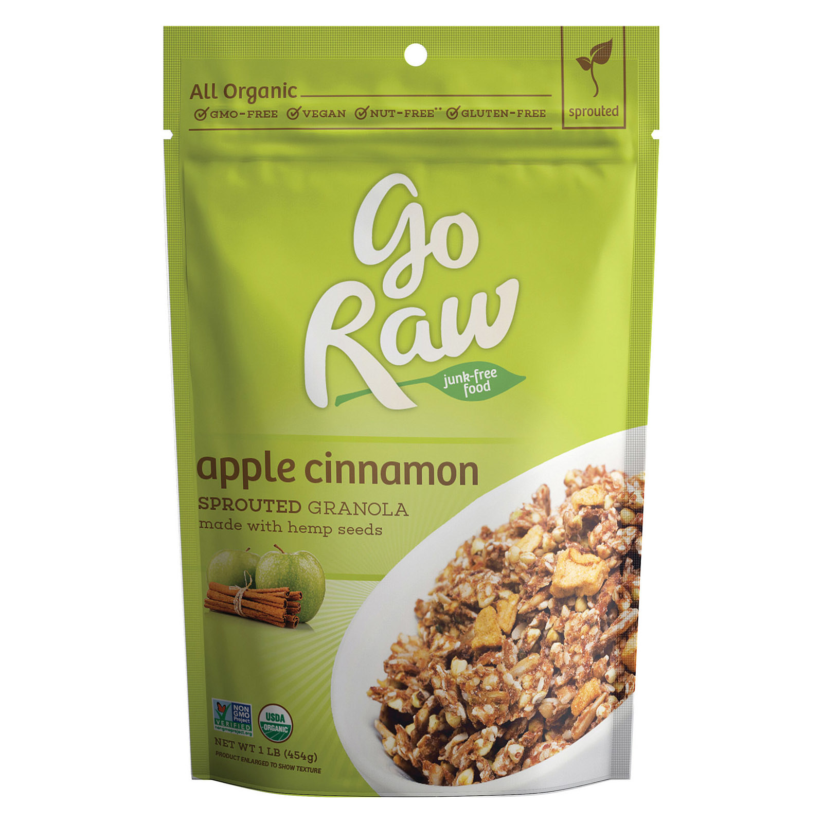 Go Raw Sprouted Granola - Apple Cinnamon - Case of 6 - 16 oz.