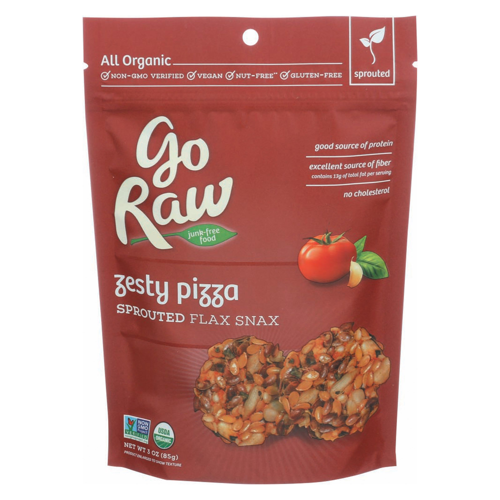 Go Raw Sprouted Flax Snax - Zesty Pizza - Case of 12 - 3 oz.