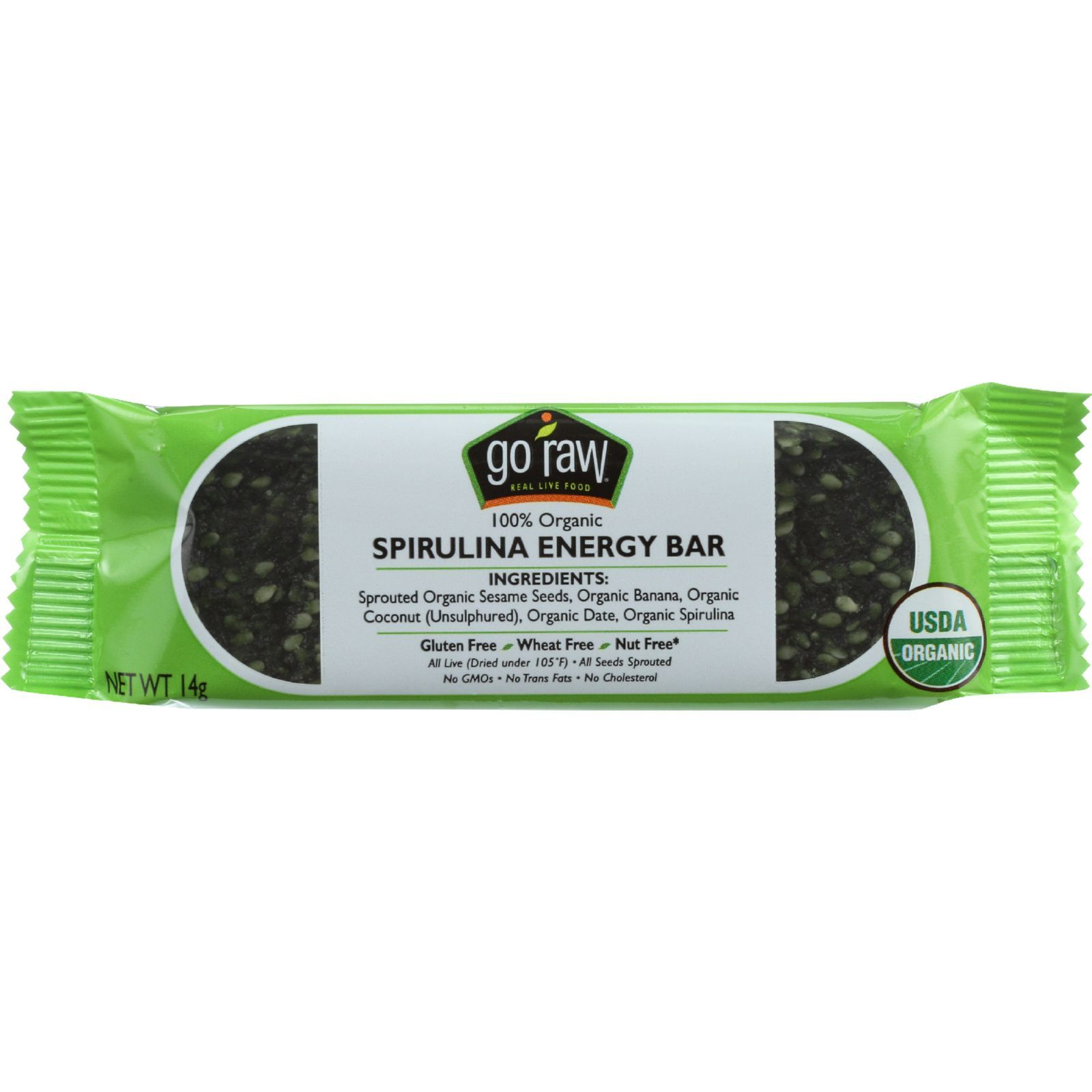 Go Raw Snack Bar - Organic - Sprouted - Spirulina Energy - Sweetened - .493 oz - case of 10