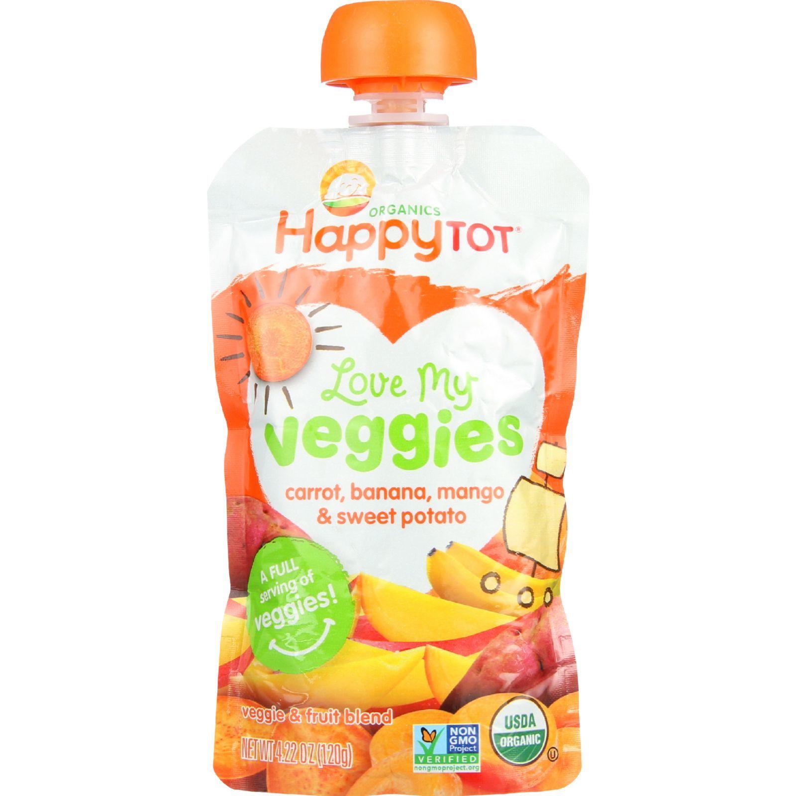 Happy Tot Toodler Food - Organic - Love My Veggies - Carrot Banana Mango and Sweet Potato - 4.22 oz - case of 16