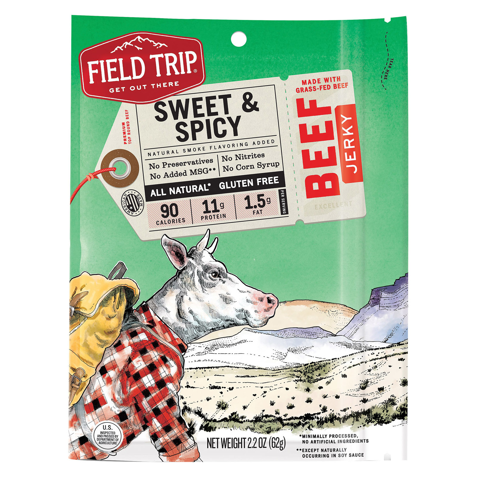 Field Trip Beef Jerky - Honey Spice - Case of 9 - 2.2 oz.