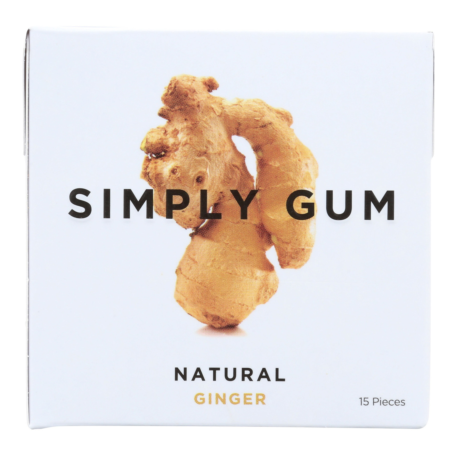 Simply Gum All Natural Gum - Ginger - Case of 12 - 15 Count