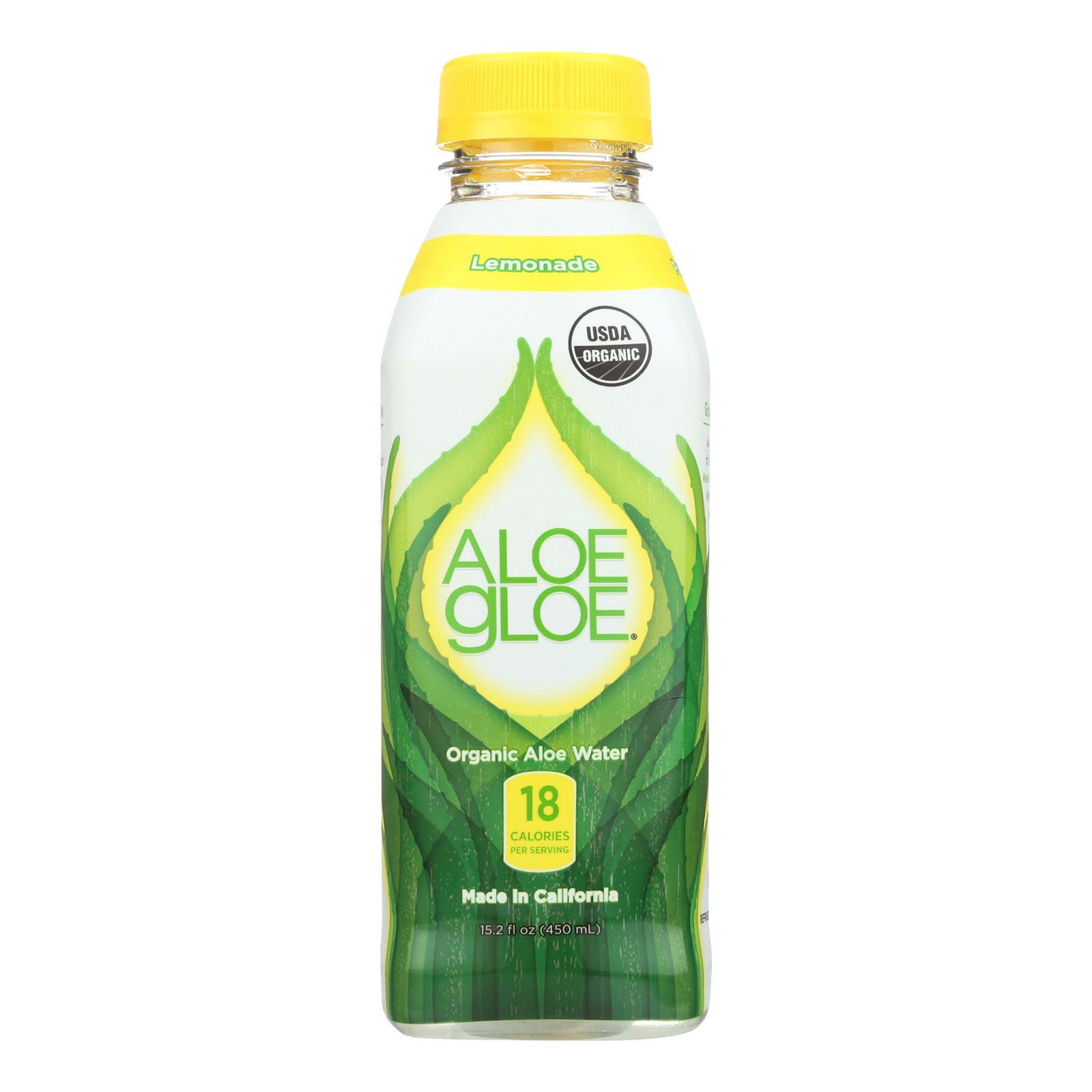 Aloe Gloe Lemonade Organic Aloe Water - Case of 12 - 15.2 fl oz.