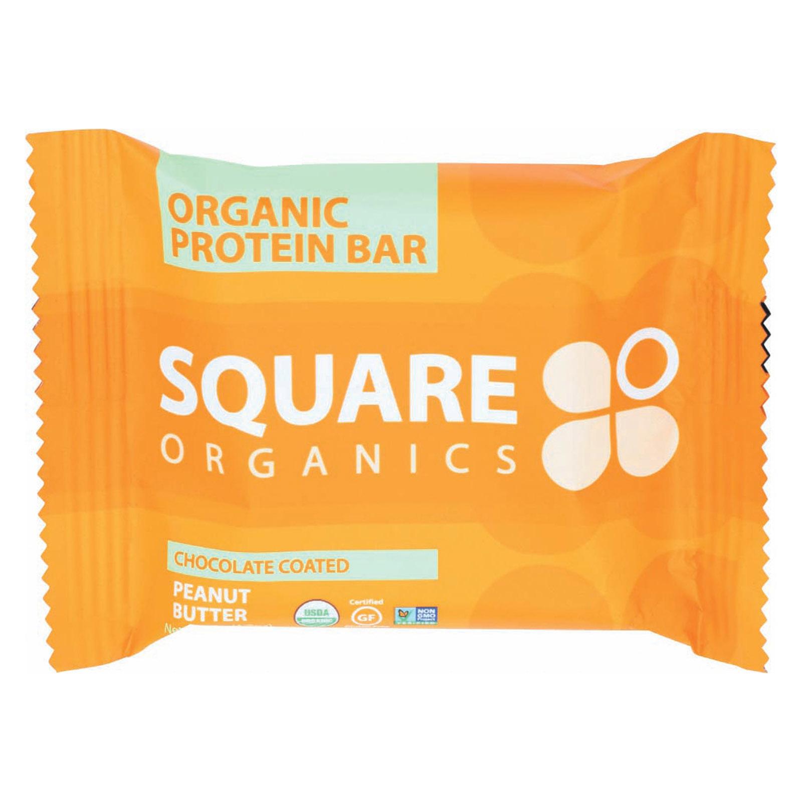 Square Organics Organic Protein Bar - Chocolate Coated Peanut Butter - Case of 12 - 1.7 oz