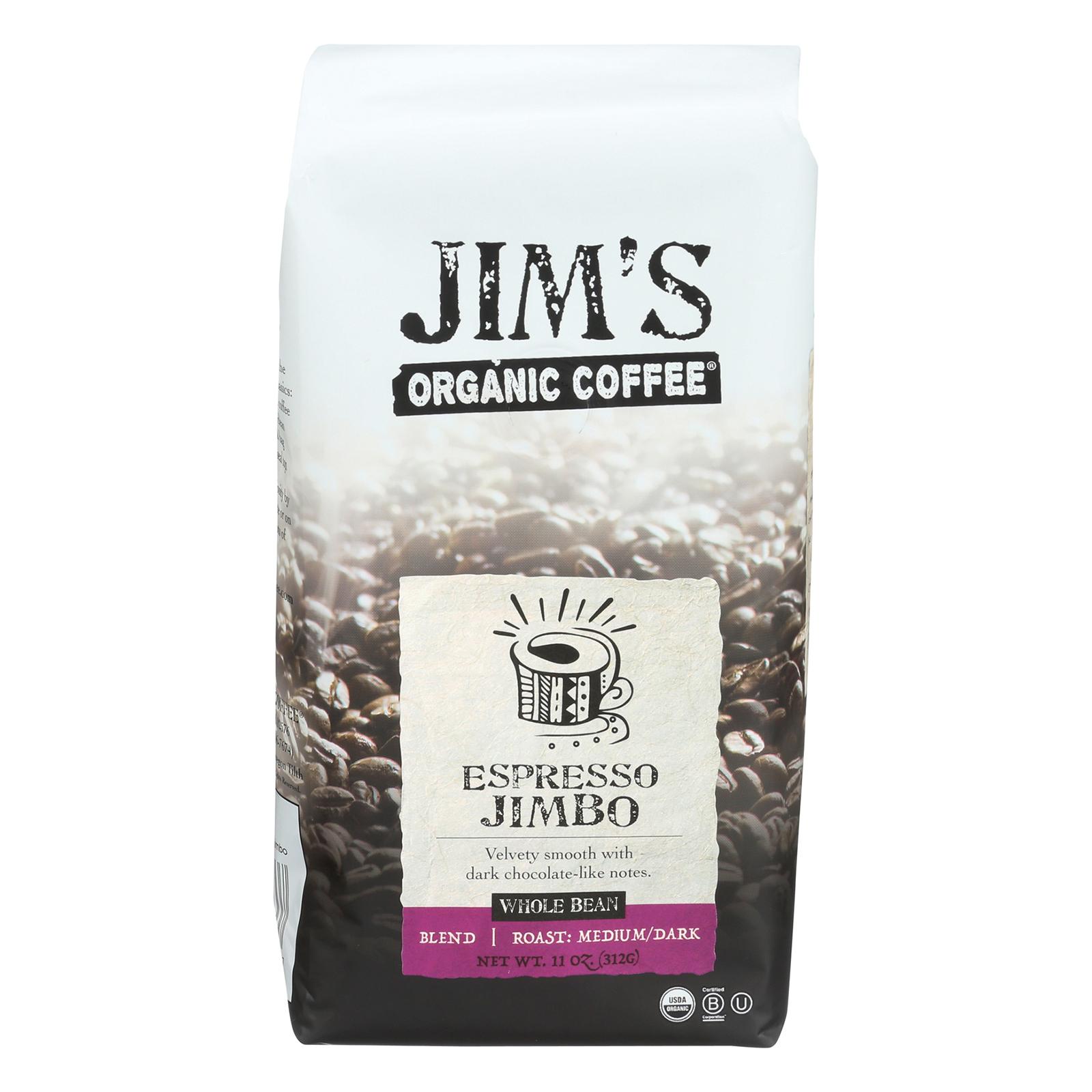 Jim's Organic Coffee - Whole Bean - Espresso Jimbo - Case of 6 - 11 oz.