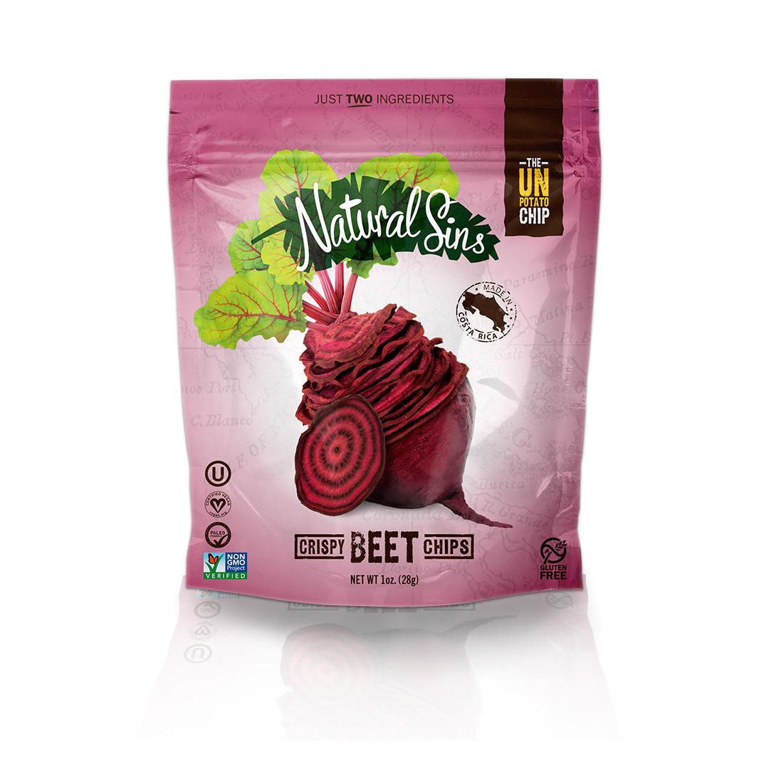 Natural Sins Crispy Beet Chips - Case of 6 - 1 oz.
