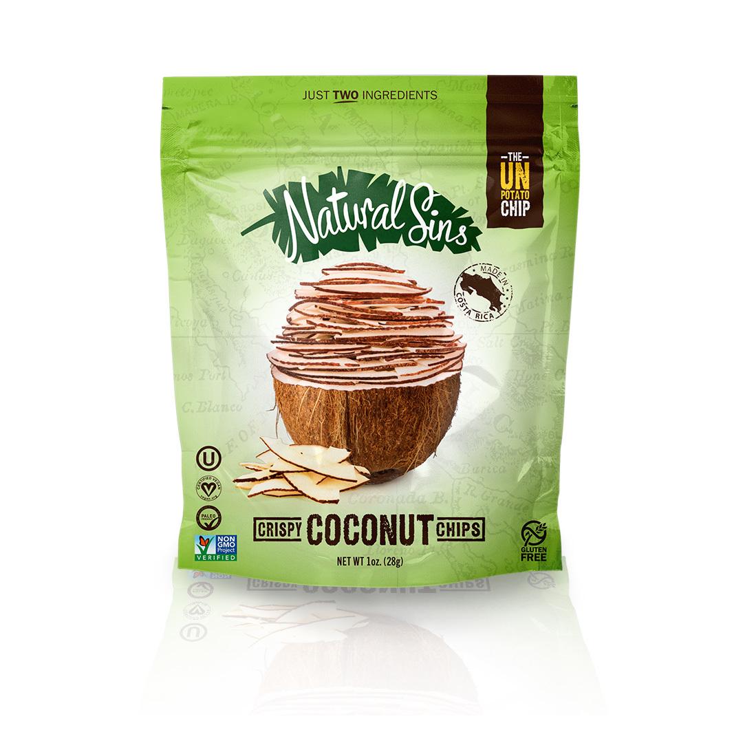 Natural Sins Crispy Coconut Chips - Case of 6 - 1 oz.