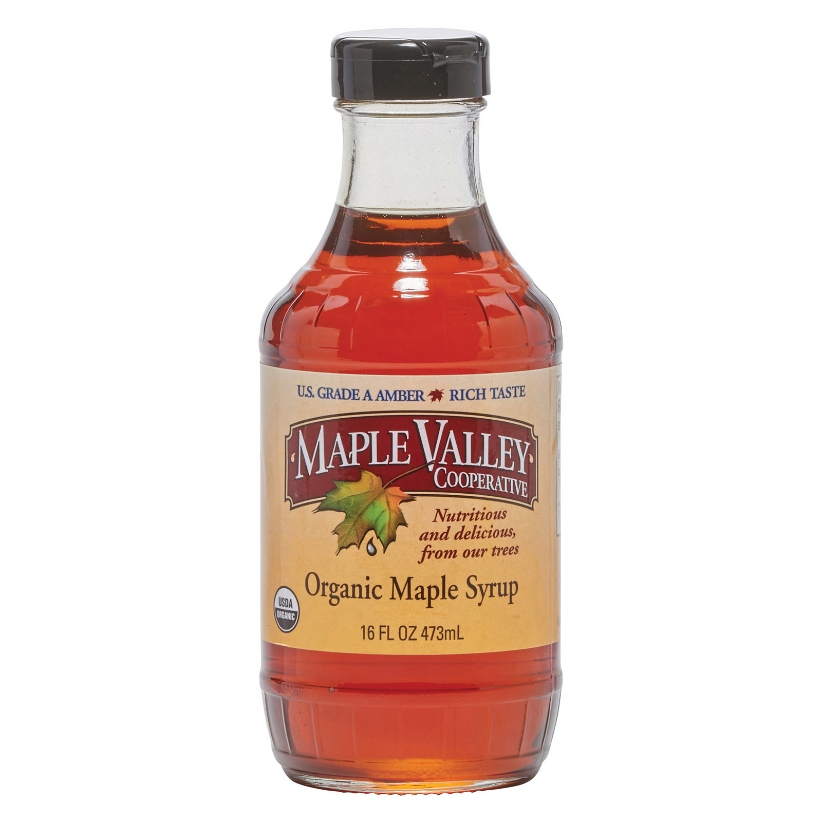 Maple Valley Cooperative Organic Maple Syrup - Grade A - Case of 6 - 16 fl oz