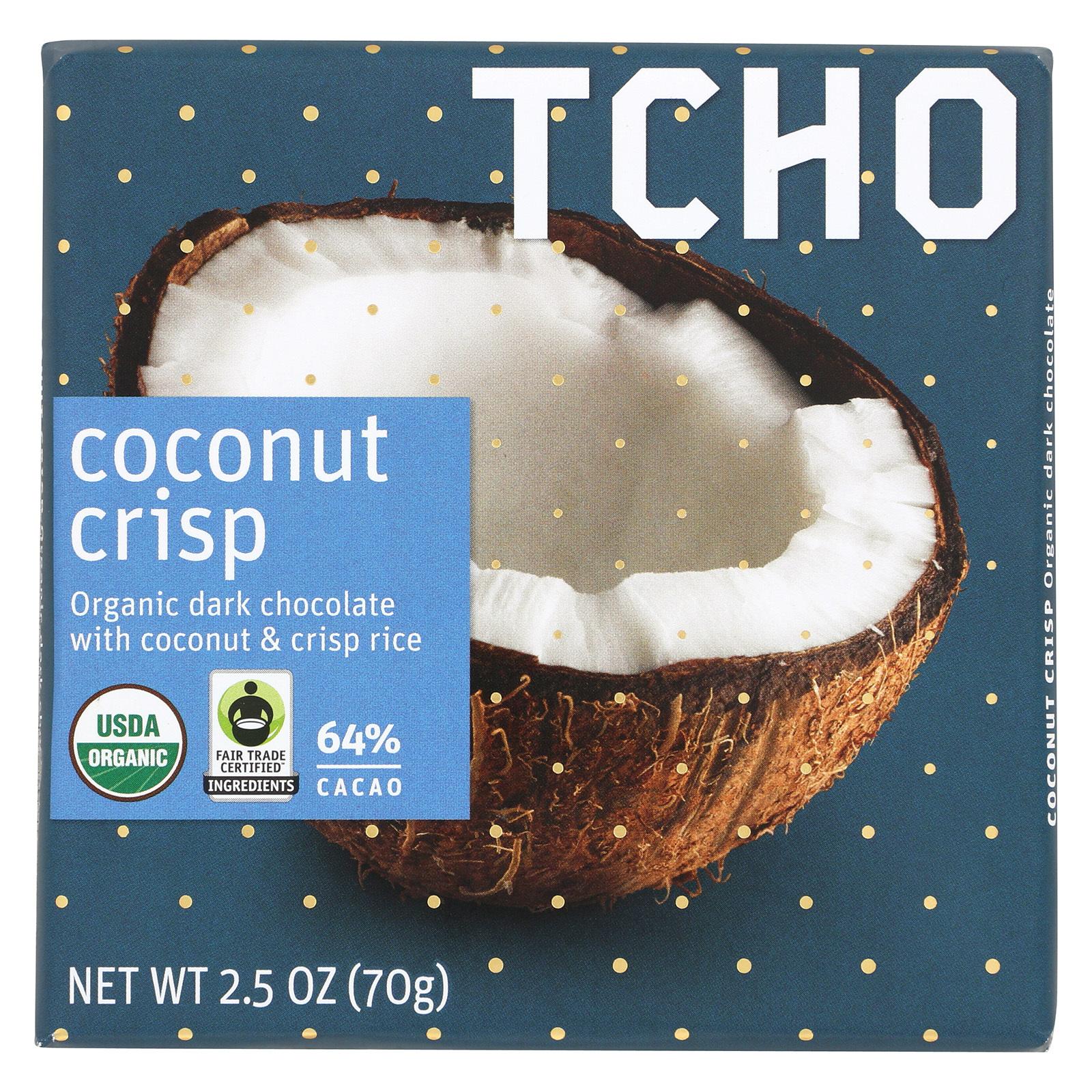 Tcho Chocolate Dark Chocolate Bar - Coconut Crisp 64 Percent Cacao - Case of 12 - 2.5 oz.