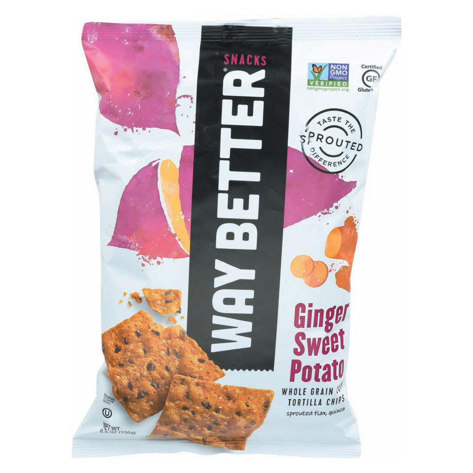 Way Better Snacks Tortilla Chips - Ginger Sweet Potato - Case of 12 - 5.5 oz.