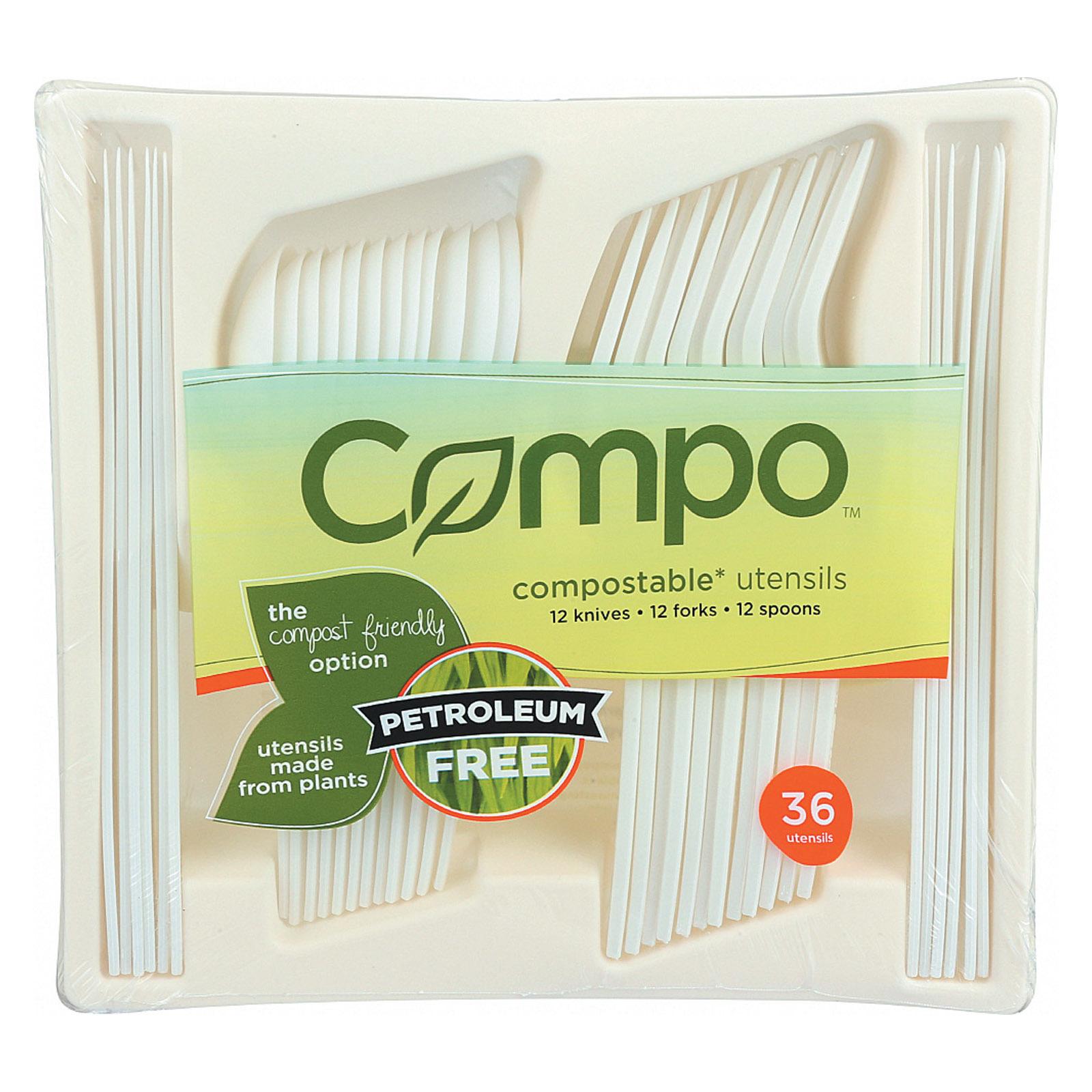 Compo Premium Flatware Utensils - Case of 12 - 36 Count