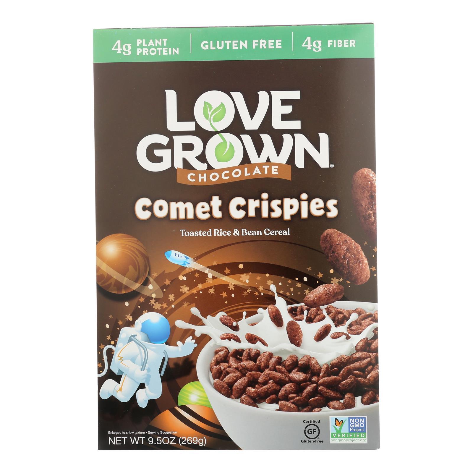Love Grown Foods Chocolate Comet Crispies - Case of 6 - 9.5 oz.