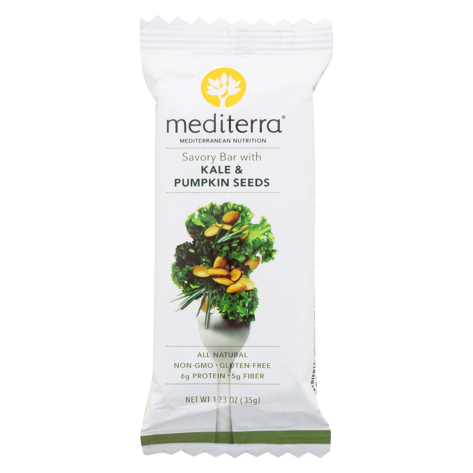Mediterra Nutrition Savory Bar - Kale and Pumpkin Seeds - Case of 12 - 1.23 oz.