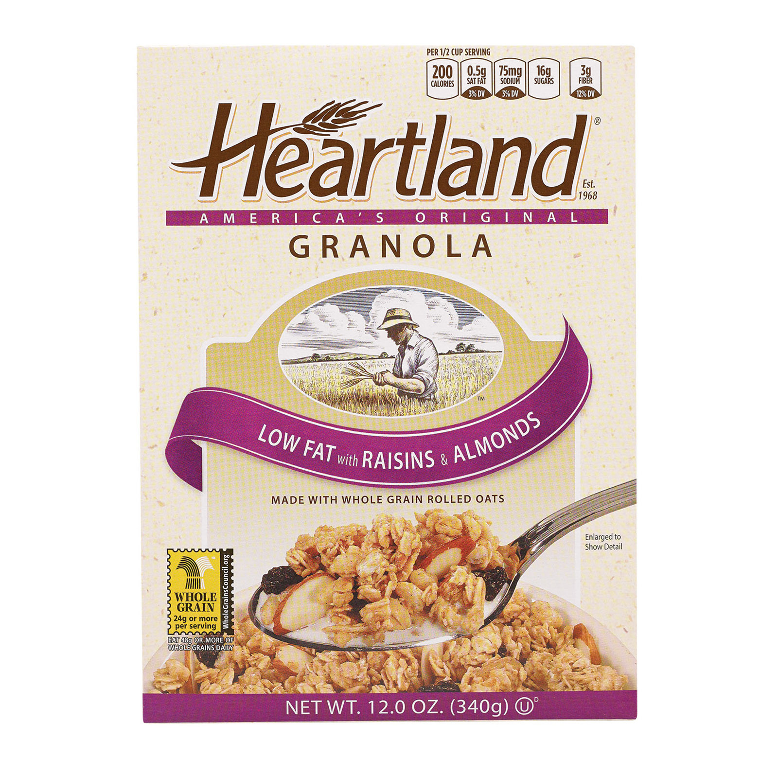 Heartland Granola Cereals - Low Fat with Raisin - Case of 6 - 12 oz.