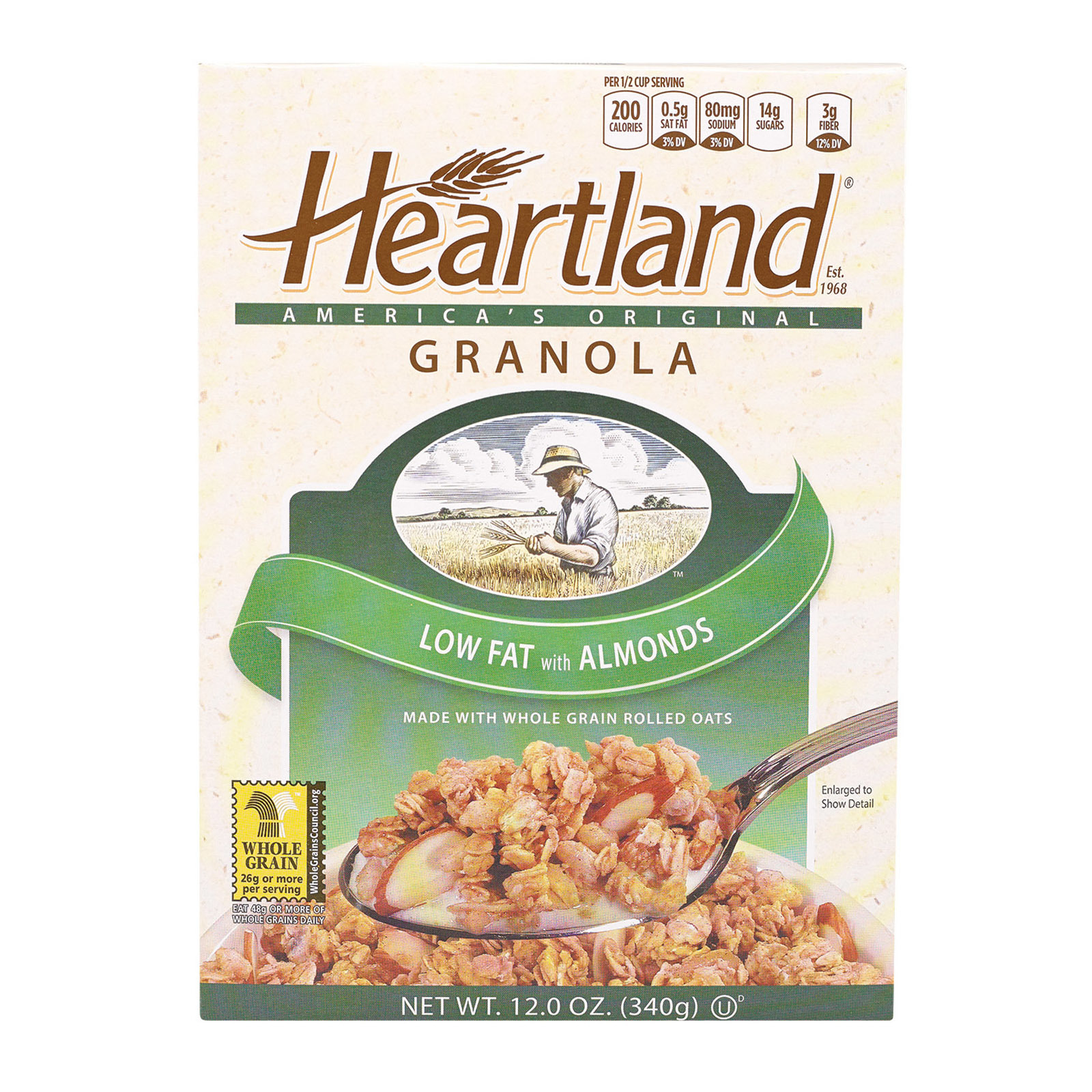 Heartland Granola Cereals - Low Fat, No Raisin - Case of 6 - 12 oz.