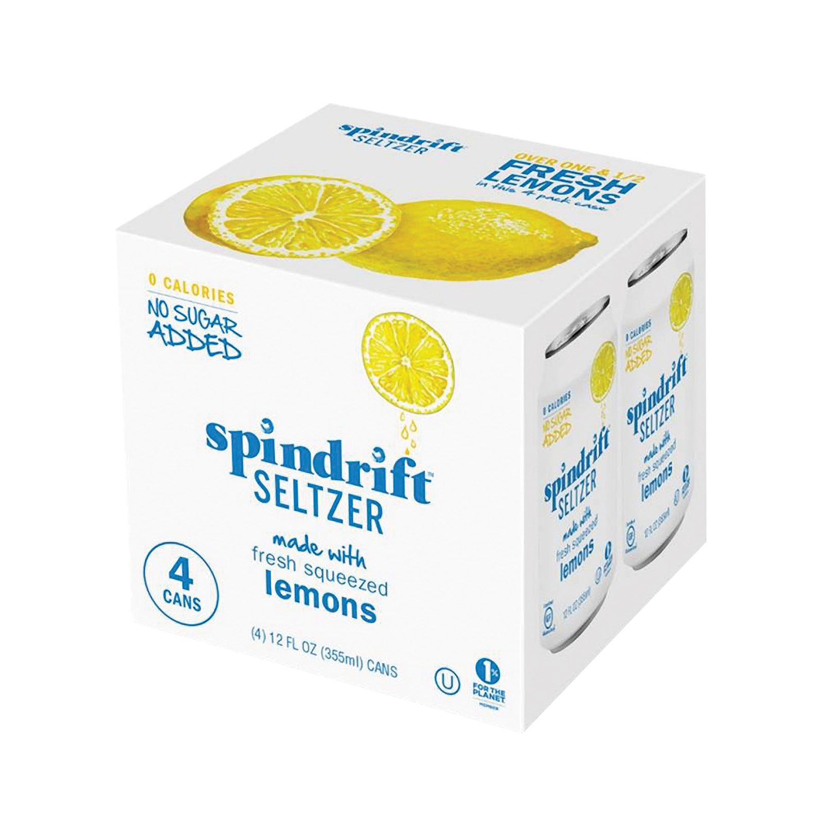 Spindrift Sparkling Water - Lemon - 4 pack 12 oz can - Case of 6