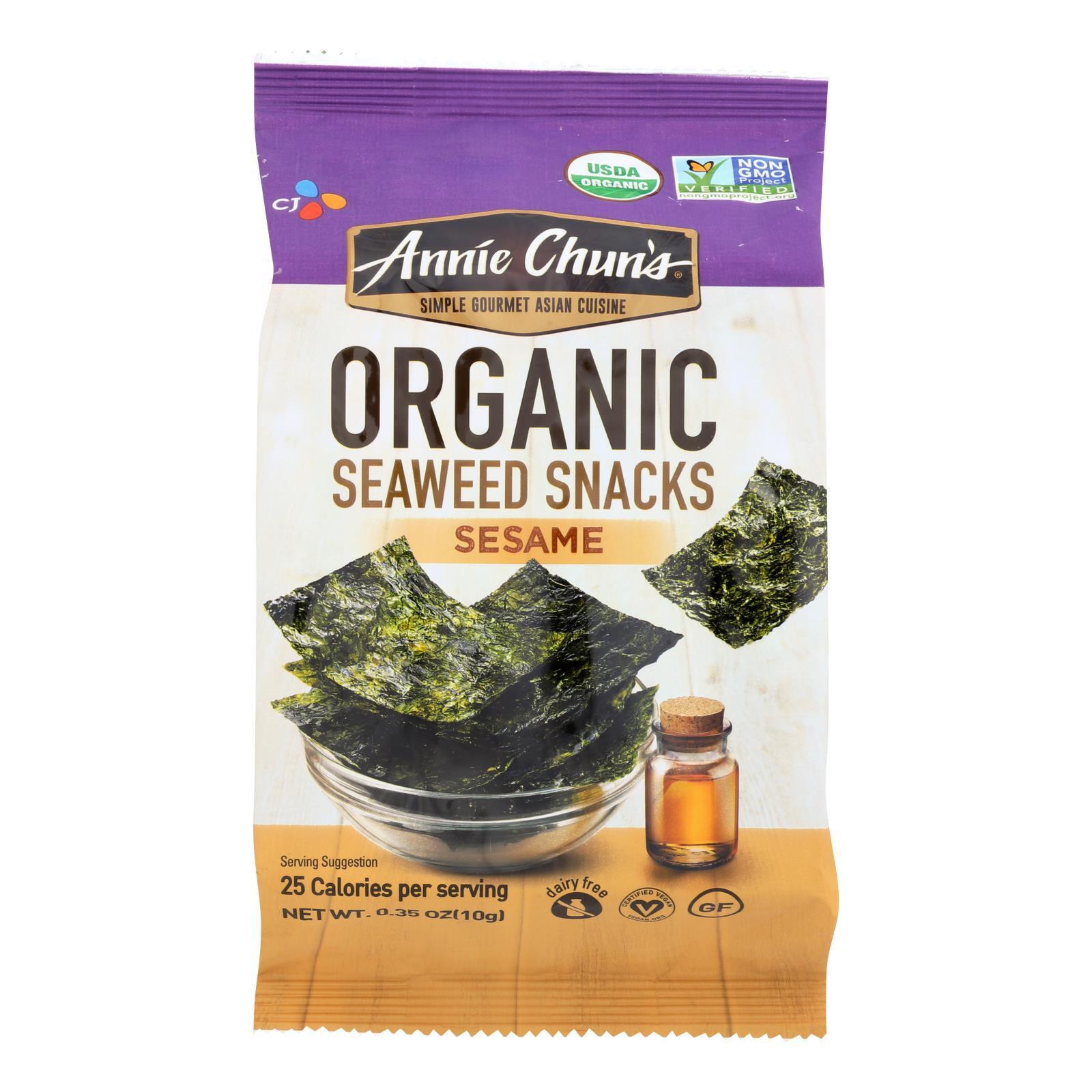Annie Chun's Organic Seaweed Snacks Sesame - Case of 12 - 0.35 oz.