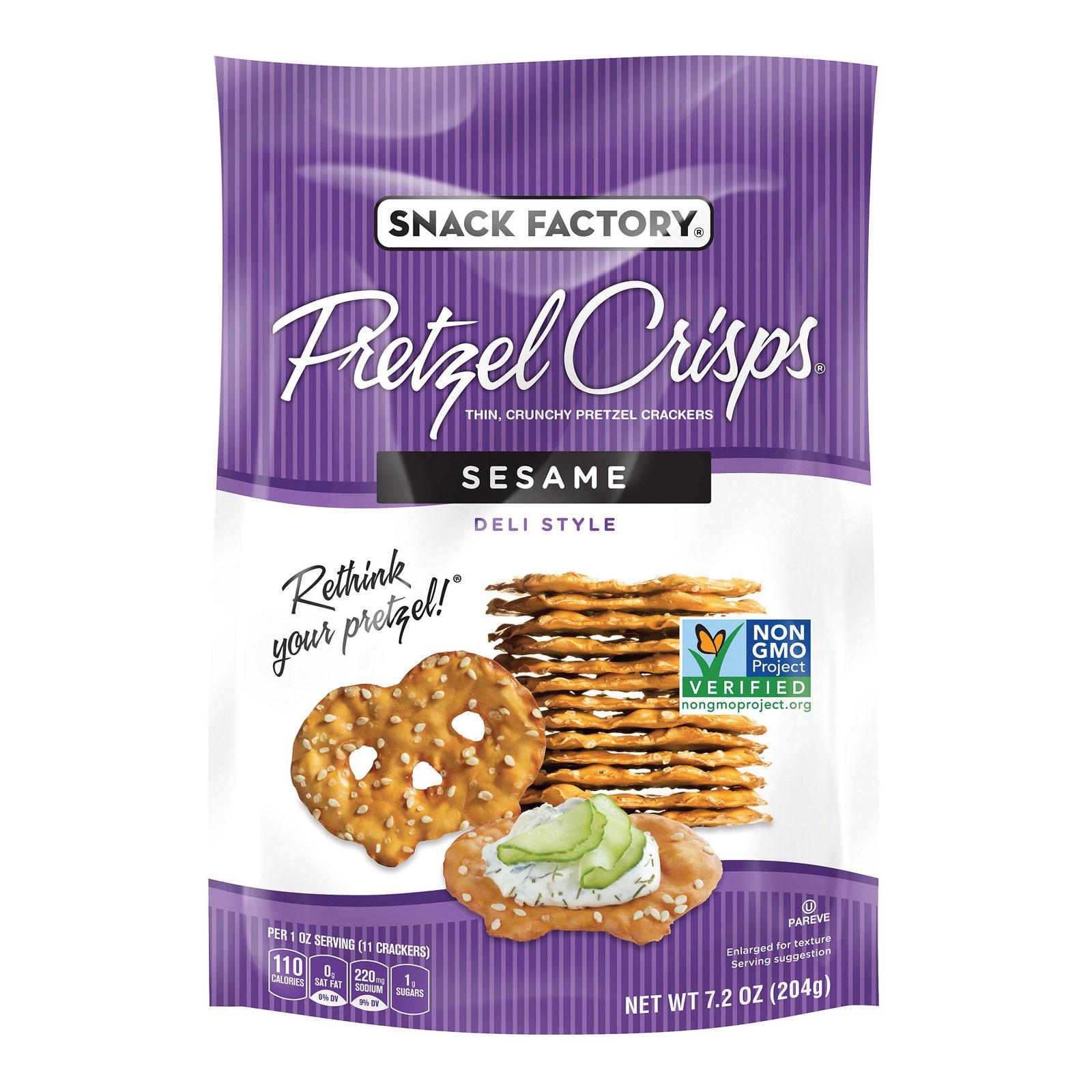 Pretzel Crisp Pretzel Crisps - Sesame - Case of 12 - 7.2 oz