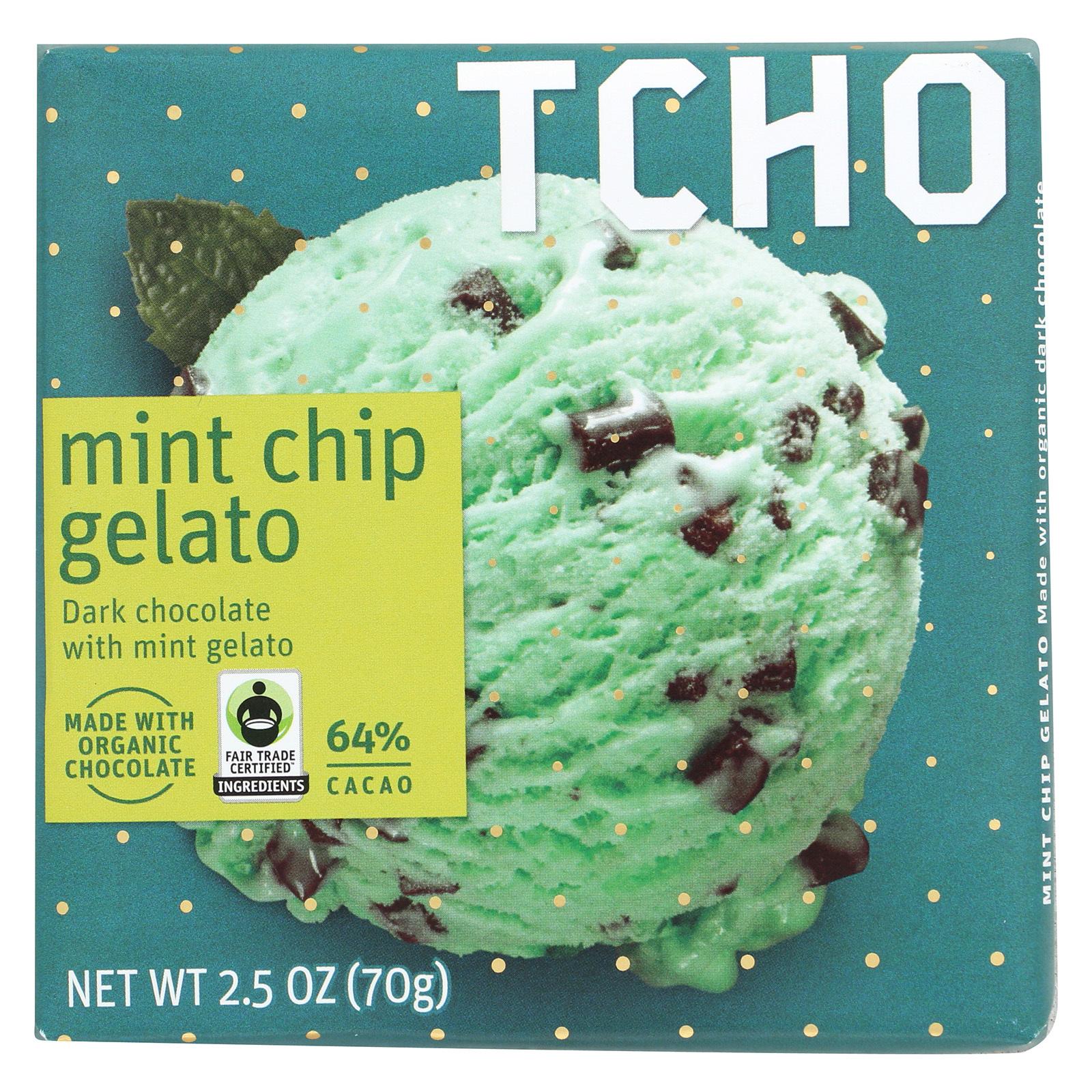 Tcho Chocolate Dark Chocolate Bar - Mint Chip Gelato 64 Percent Cacao - Case of 12 - 2.5 oz.