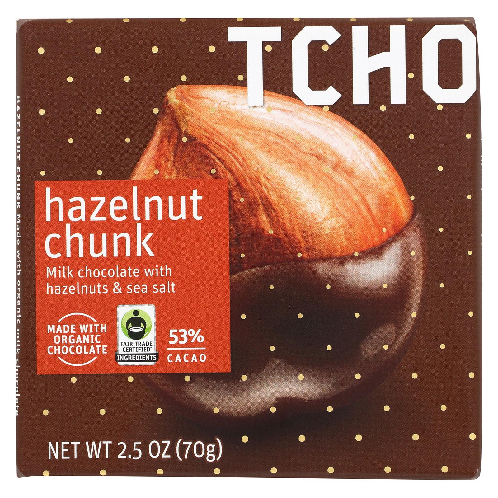 Tcho Chocolate Milk Chocolate Bar - Hazelnut Chunk - Case of 12 - 2.5 oz.