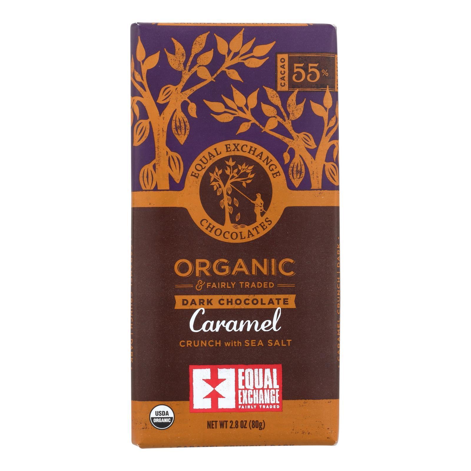Equal Exchange Organic Milk Chocolate Bar - Caramel Crunch with Sea Salt - Case of 12 - 2.8 oz.