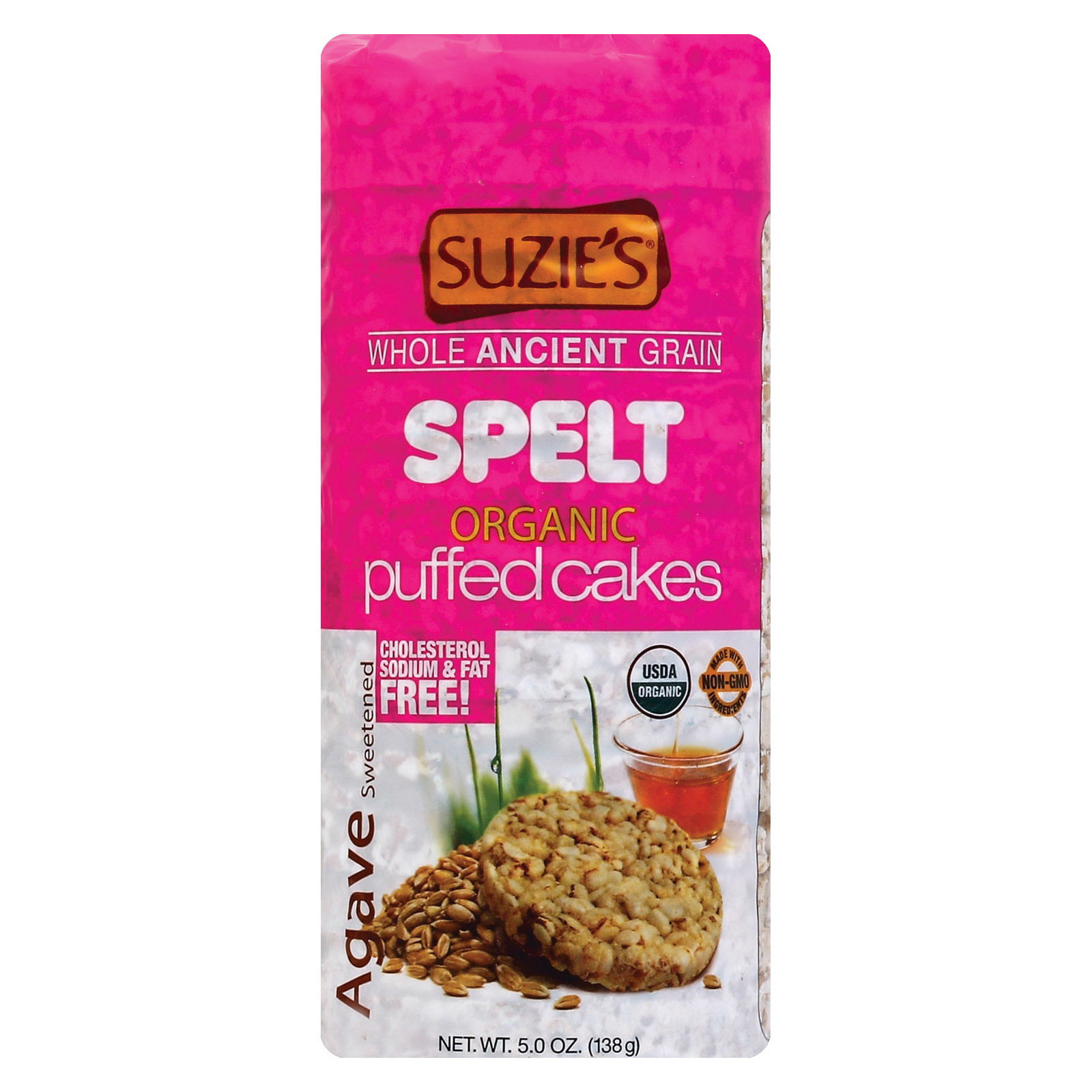 Suzie's Spelt Puffed Cakes - Agave Sweetened - Case of 12 - 5 oz.
