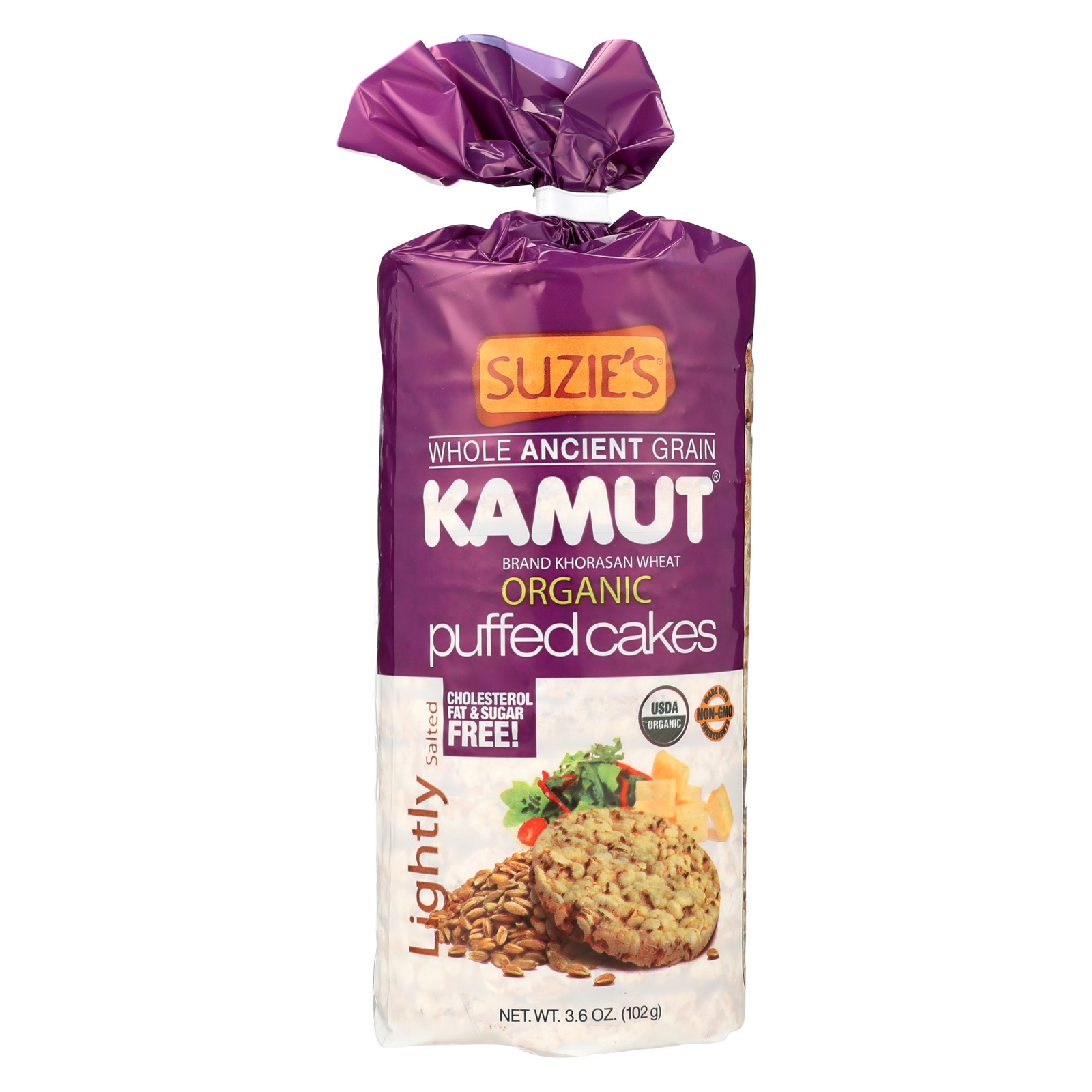 Suzie's Kamut Puffed Cakes - Lightly Salted - Case of 12 - 3.6 oz.